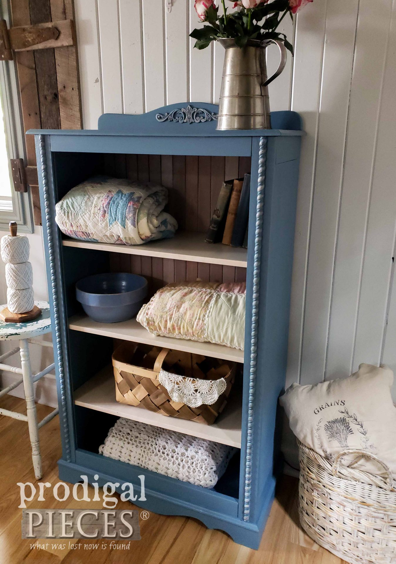 Upcycled Blue Cottage Cabinet by Larissa of Prodigal Pieces | prodigalpieces.com #prodigalpieces #furniture #cottage #home #homedecor