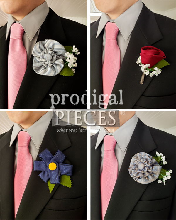 Selection of Upcycled Necktie Boutonnieres Made by Larissa of Prodigal Pieces | prodigalpieces.com #prodigalpieces #fathersday #diy #handmade #gift #dad