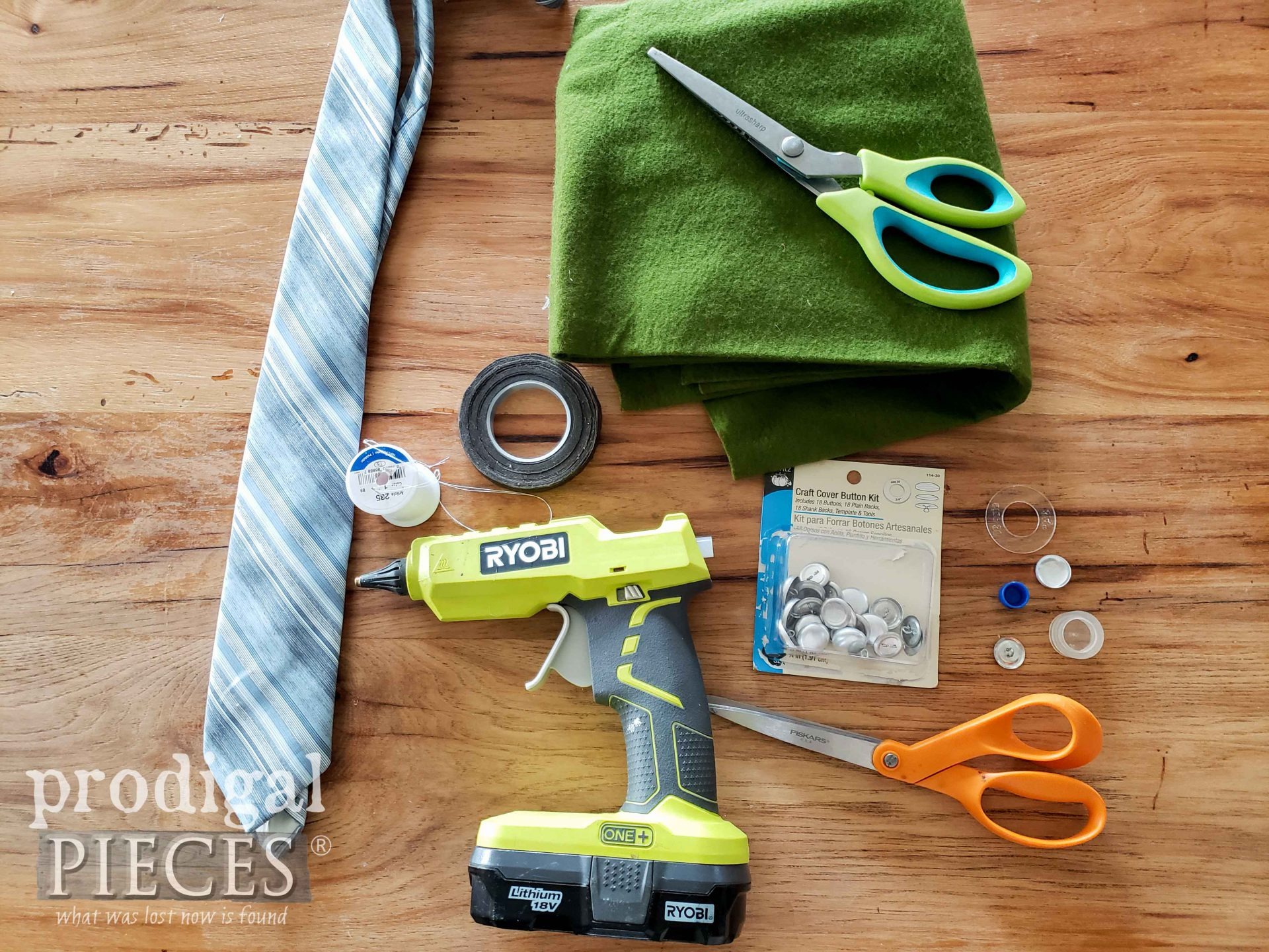 DIY Supplies for Upcycled Necktie Boutonniere by Larissa of Prodigal Pieces | prodigalpieces.com #prodigalpieces