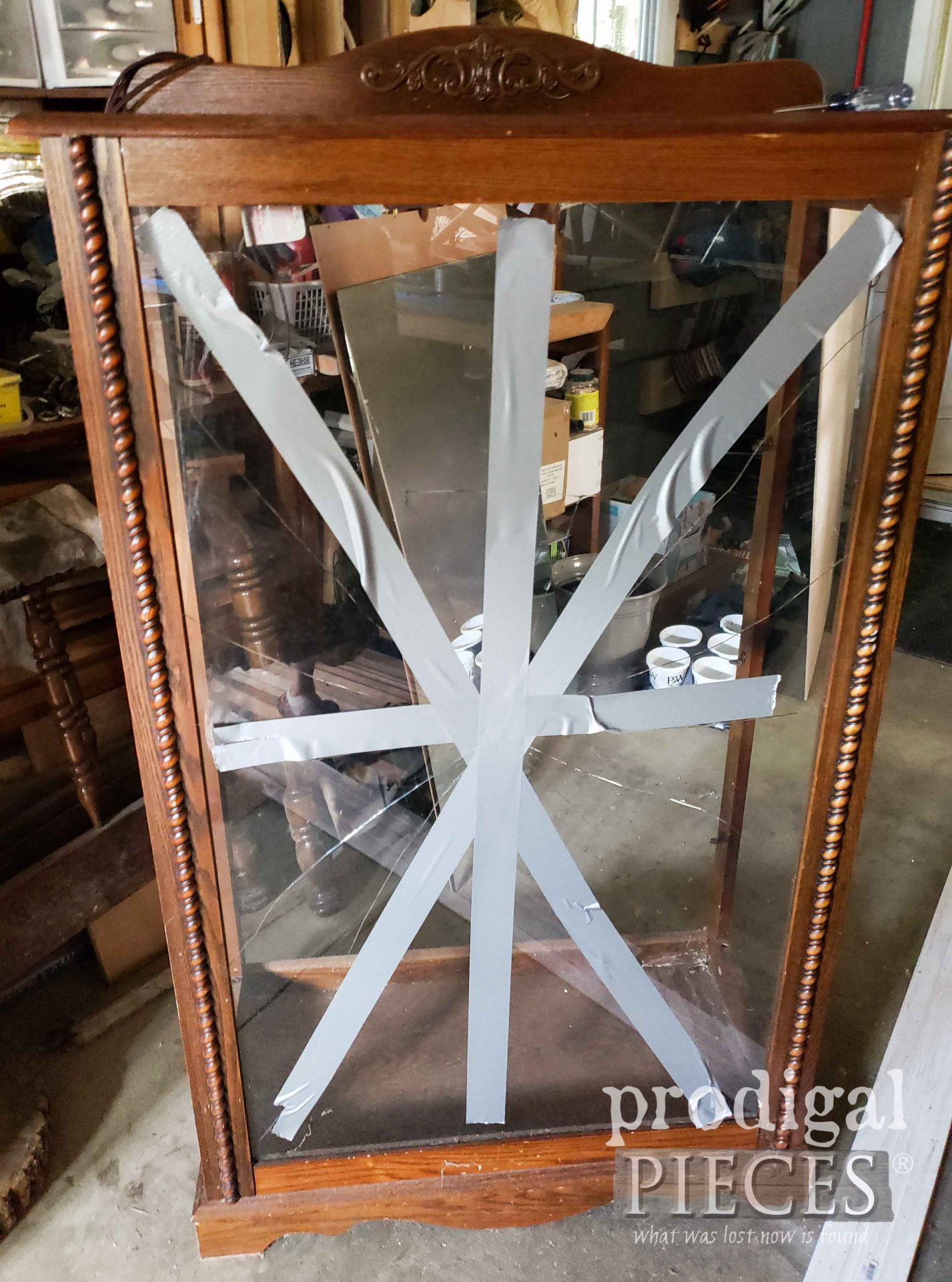 Breaking Curio Glass for Upcycle | prodigalpieces.com #prodigalpieces