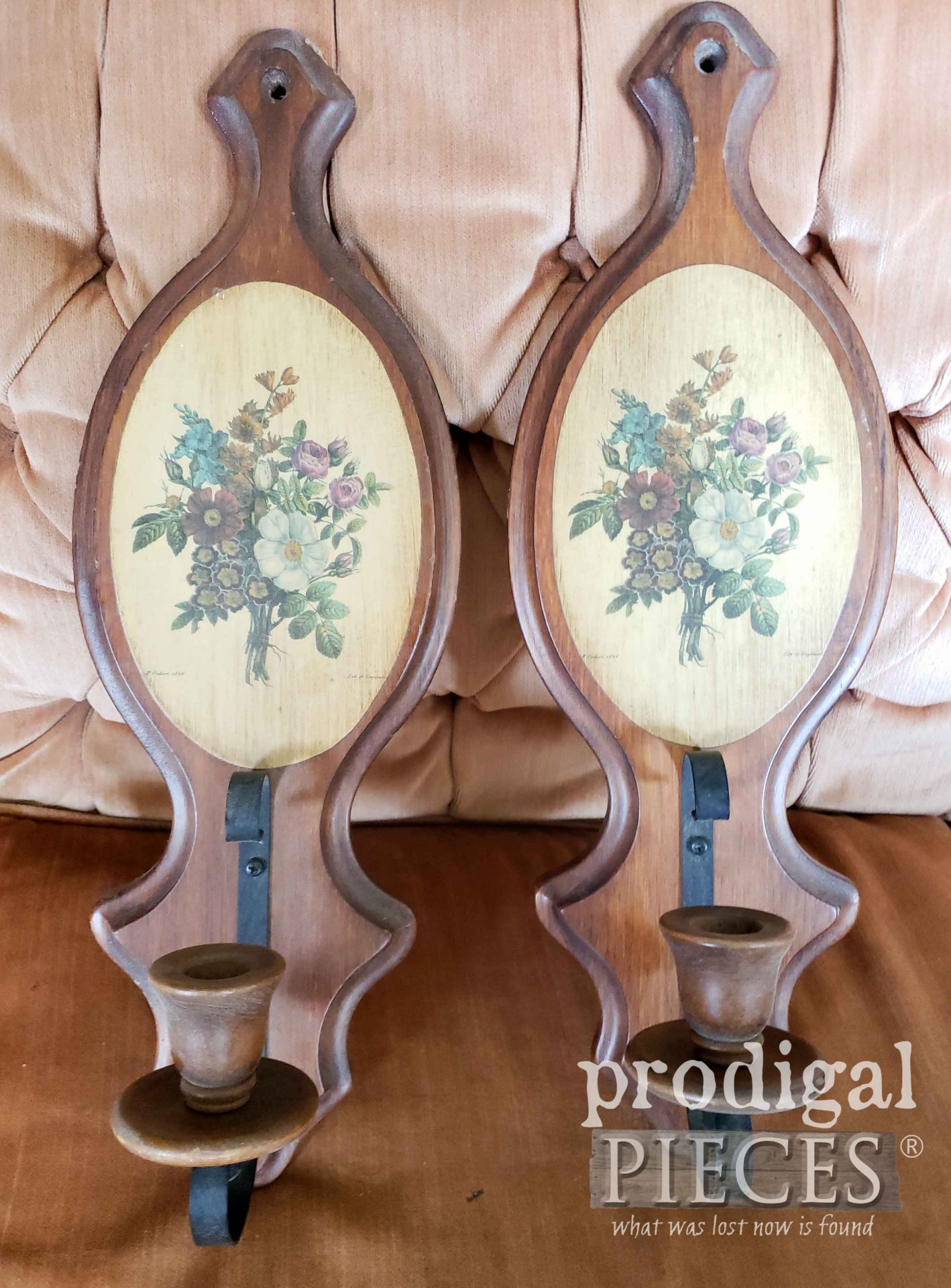 Vintage Candle Sconces Before by Larissa of Prodigal Pieces | prodigalpieces.com