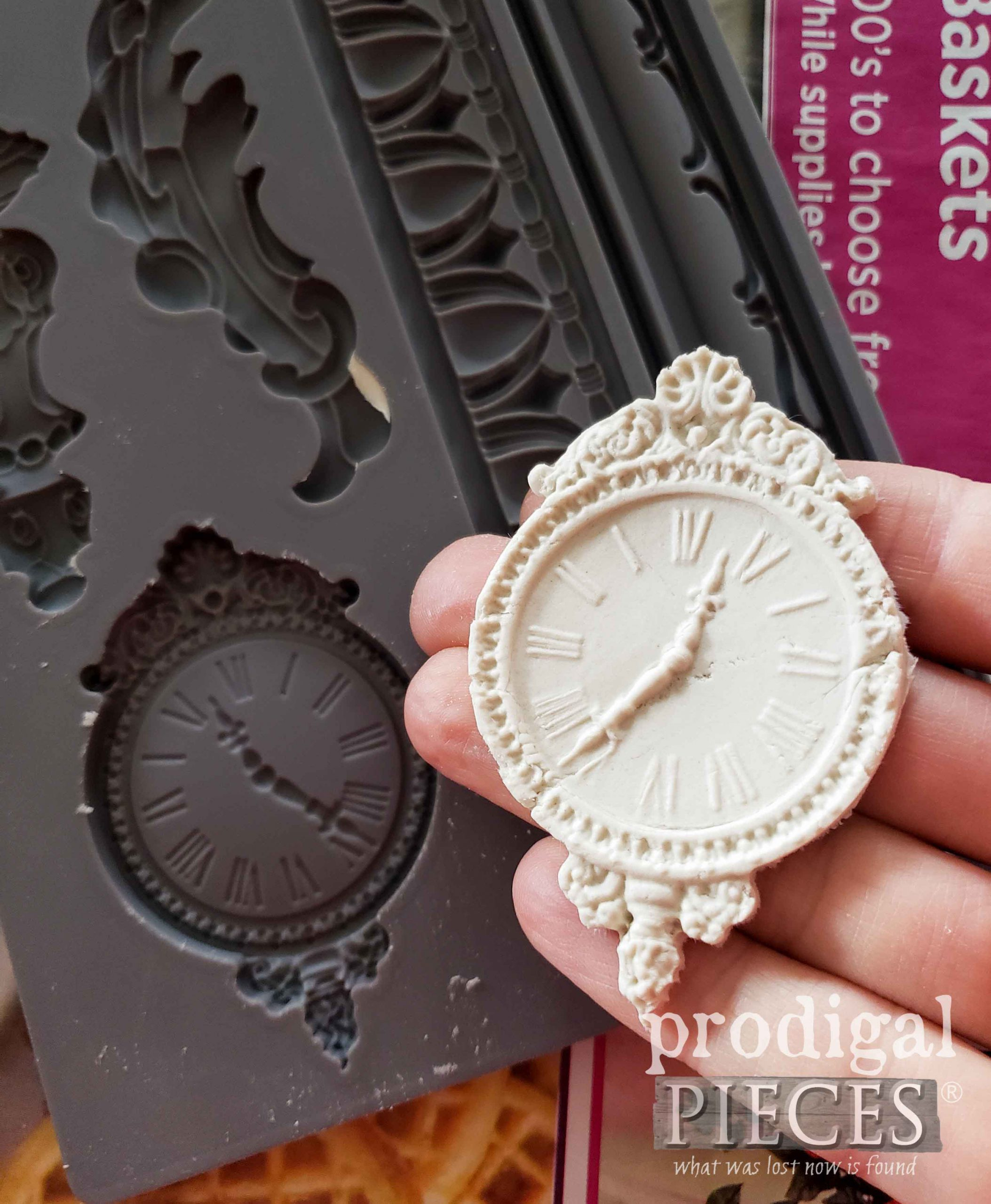 Paper Clay Clock Applique by Prodigal Pieces | prodigalpieces.com