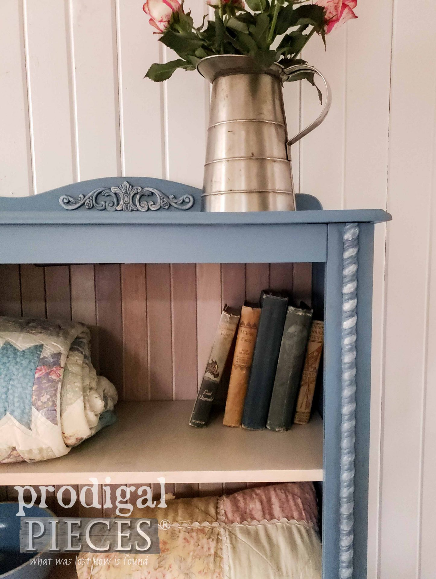 Lighted Cottage Cabinet Corner with Intricate Details by Larissa of Prodigal Pieces | prodigalpieces.com #prodigalpieces #furniture #home #homedecor