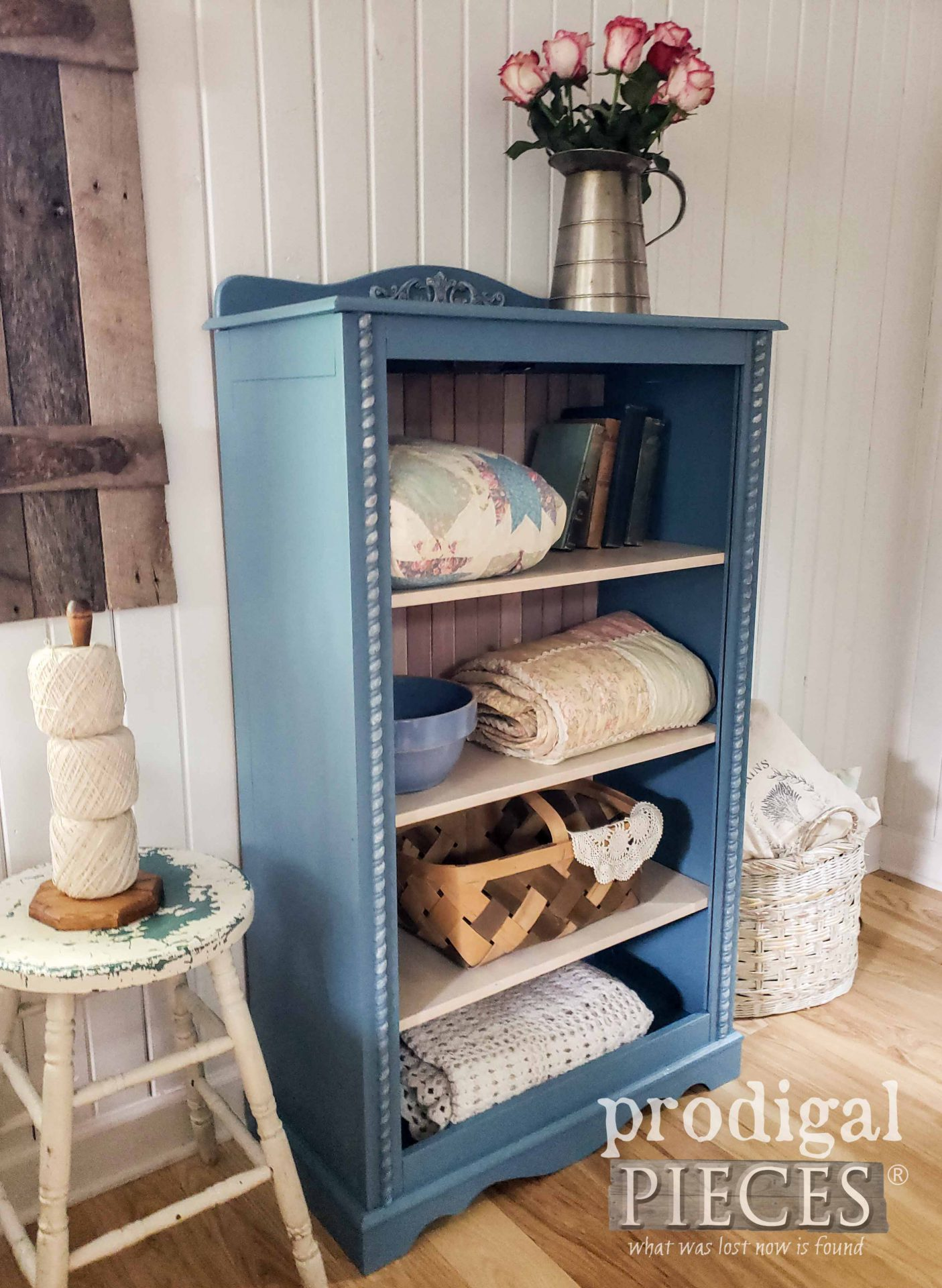 Cottage Style Cabinet for Linens, Books, and More by Larissa of Prodigal Pieces | prodigalpieces.com #prodigalpieces #diy #home #furniture #homedecor #cottage