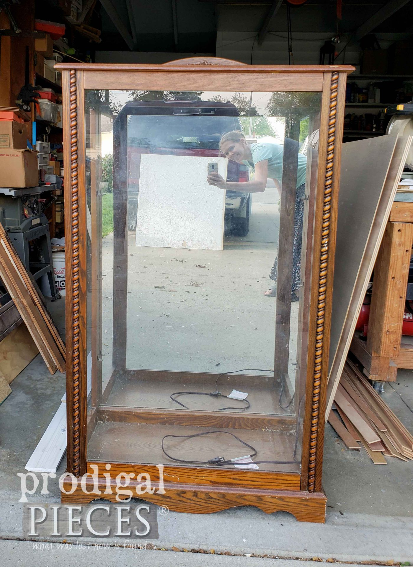 Broken Curio Cabinet Before Repurposed by Larissa of Prodigal Pieces | prodigalpieces.com #prodigalpieces