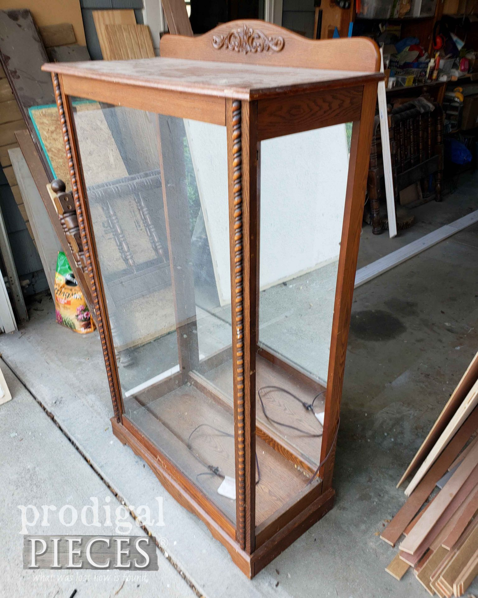 Curio Cabinet Side with Missing Doors | prodigalpieces.com #prodigalpieces