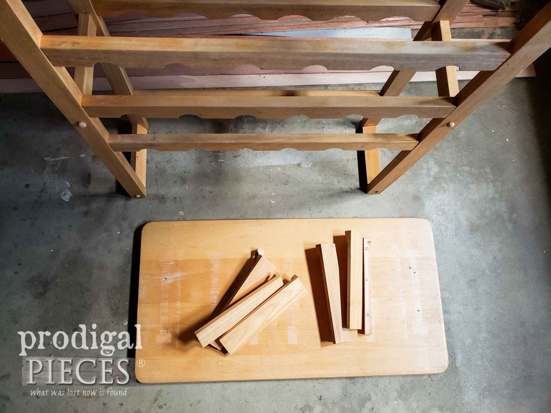 Disassembled Wine Rack Before Upcycle by Larissa of Prodigal Pieces | prodigalpieces.com