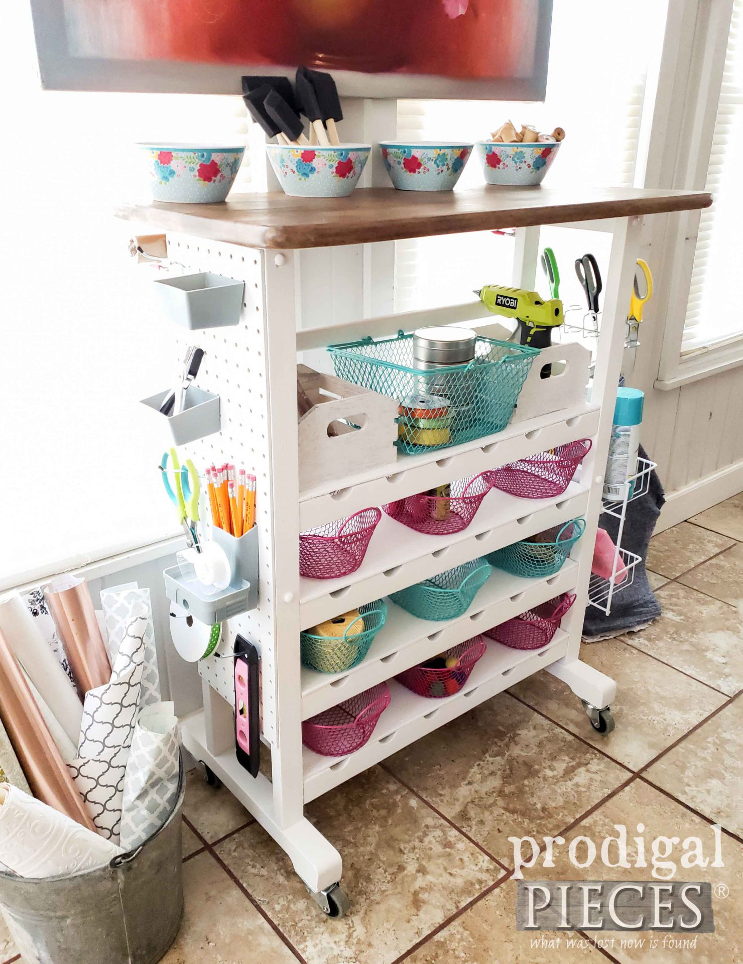 DIY Craft Cart from Repurposed Wine Rack by Larissa of Prodigal Pieces | prodigalpieces.com #prodigalpieces #diy #home #homedecor #crafts