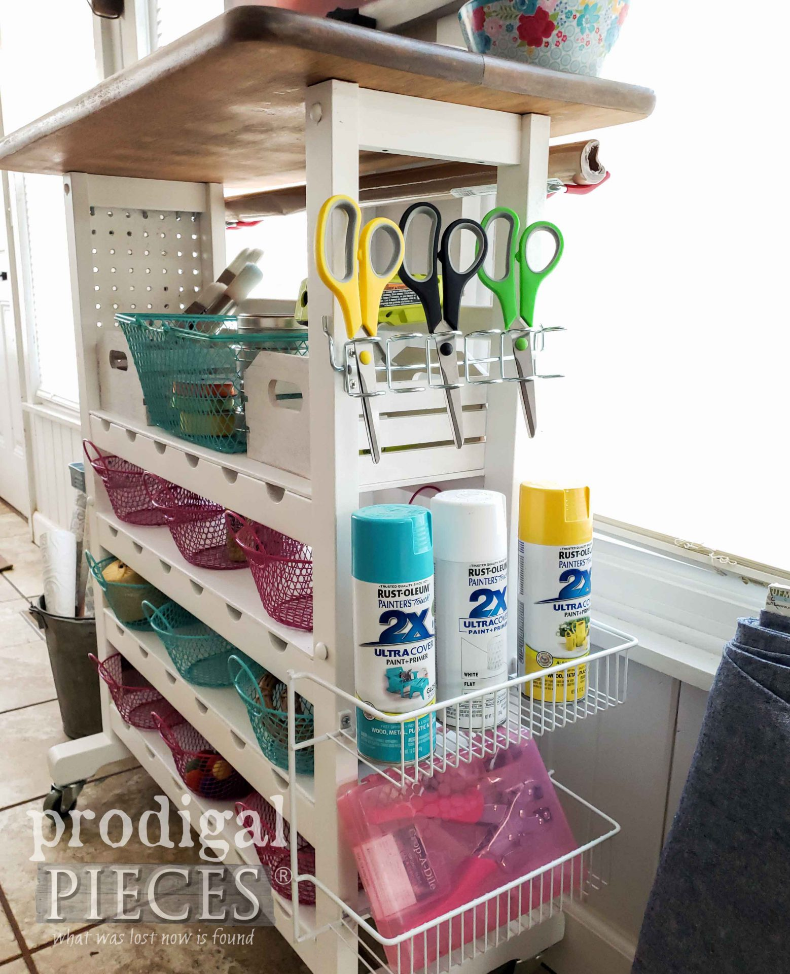 DIY Craft Store on Upcycled Cart by Larissa of Prodigal Pieces | prodigalpieces.com #prodigalpieces #home #crafts #home #homedecor