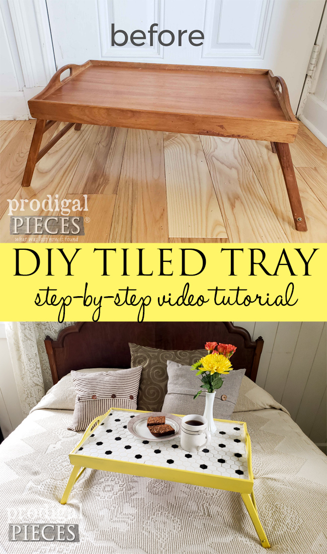 Grab that thrift store tray and turn it into a DIY Tiled Tray with step-by-step video tutorial by Larissa of Prodigal Pieces at prodigalpieces.com #prodigalpieces #diy #home #homedecor #entertaining #video #tutorial