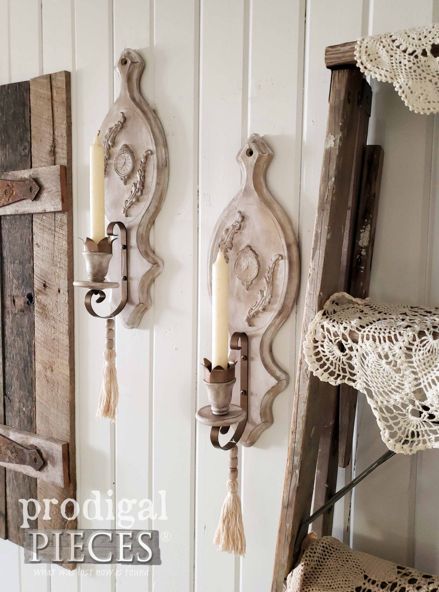 Pair of Farmhouse Chic Candle Sconces by Larissa of Prodigal Pieces | prodigalpieces.com #prodigalpieces #homedecor #diy #farmhouse #rusticchic