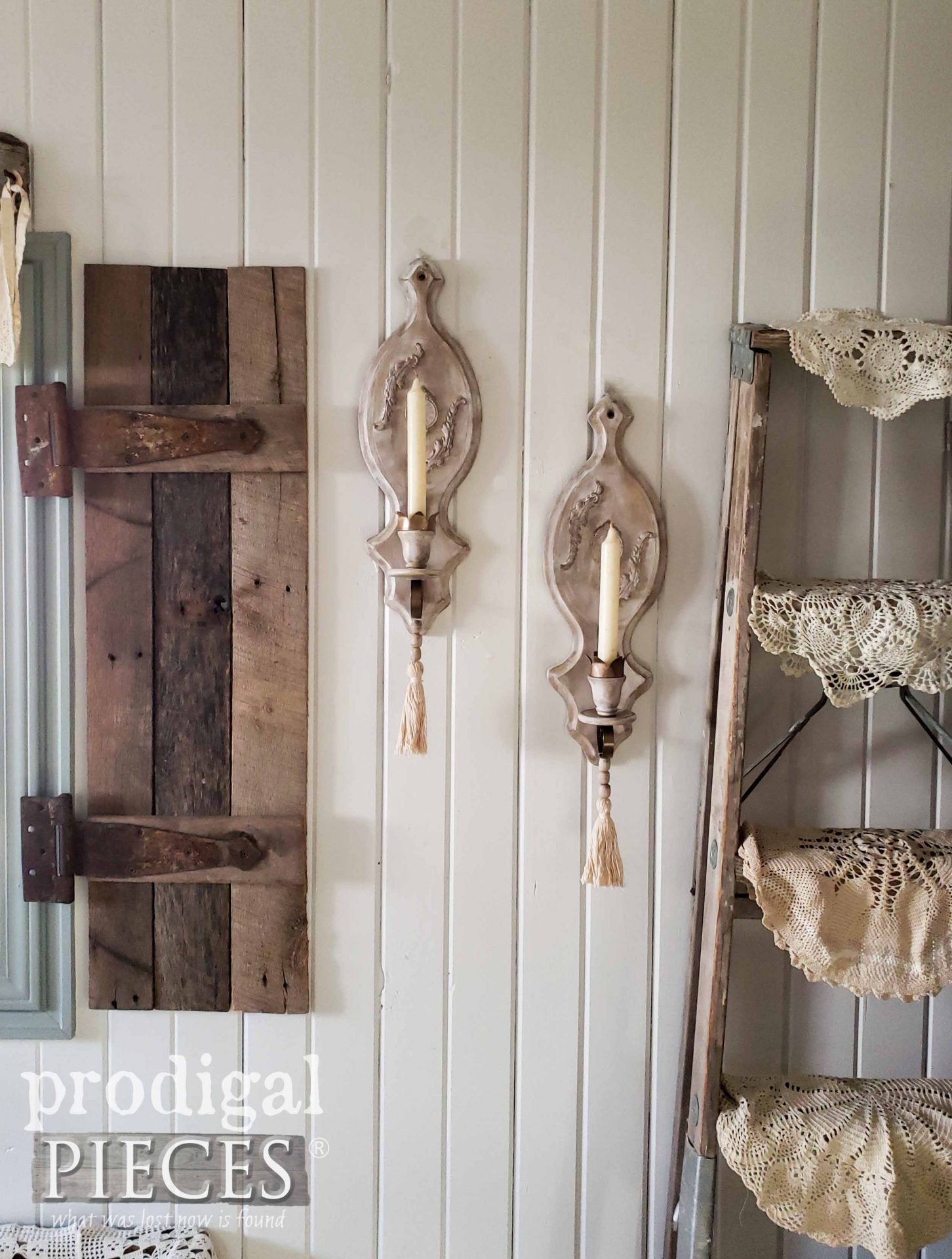 Farmhouse Style Candles Sconces with Beaded Tassels by Larissa of Prodigal Pieces | prodigalpieces.com #prodigalpieces #farmhouse #diy #home #homedecro