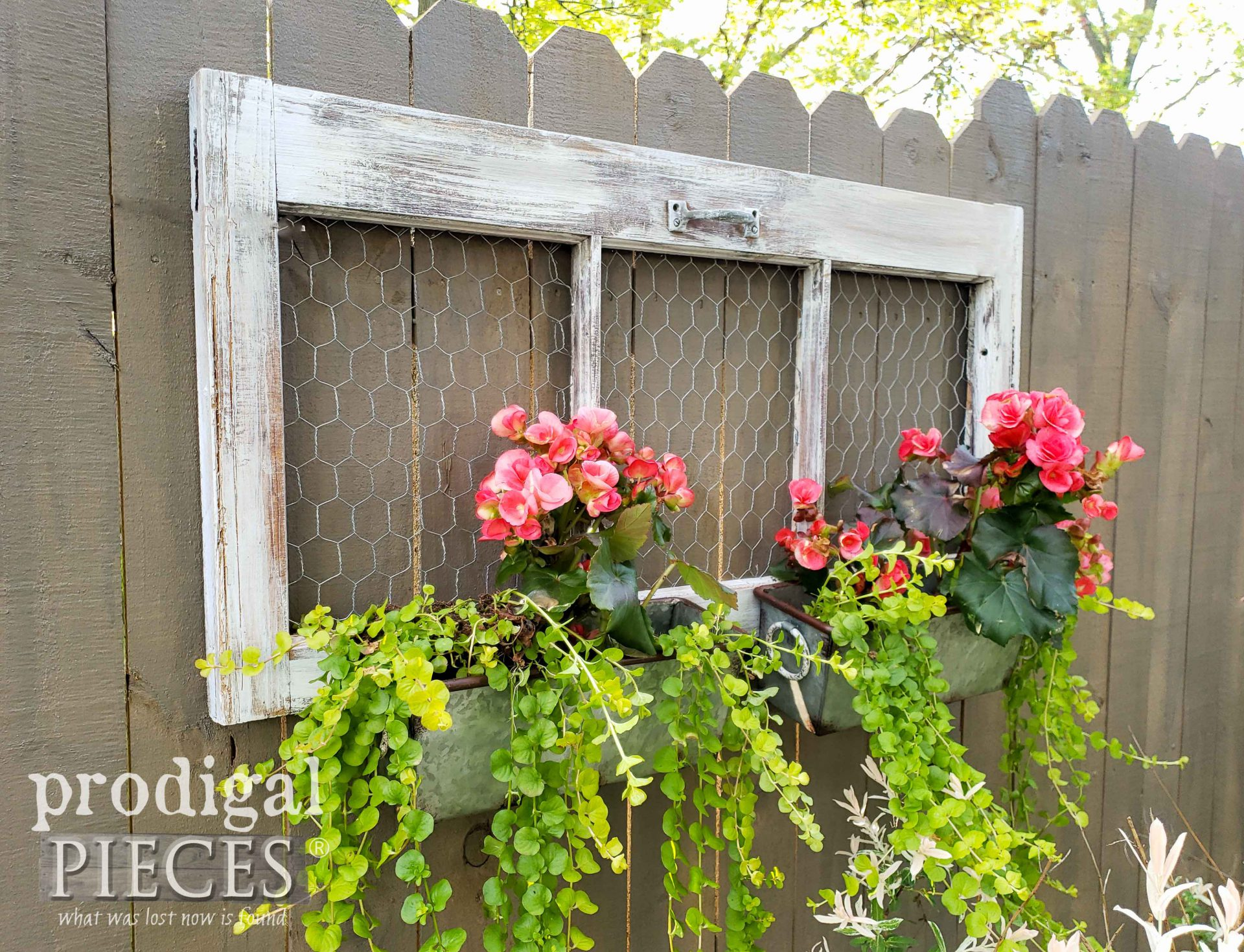 Farmhouse Style Upcycled Window Planter for Garden Decor by Larissa of Prodigal Pieces | prodigalpieces.com #prodigalpieces #home #garden #homedecor #diy #farmhouse