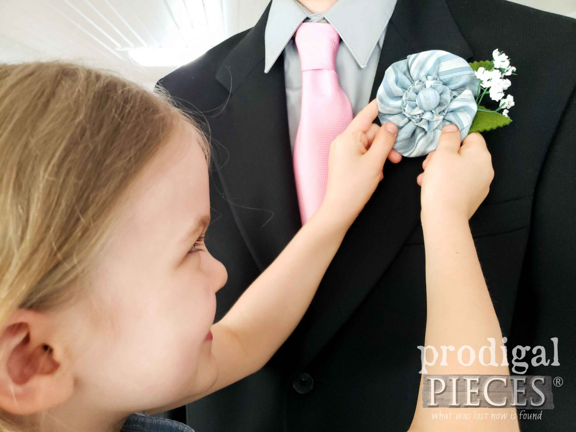 DIY Father's Day Boutonniere from Upcycled Necktie with Video Tutorial by Larissa of Prodigal Pieces | prodigalpieces.com #prodigalpieces #diy #handmade #fathersday