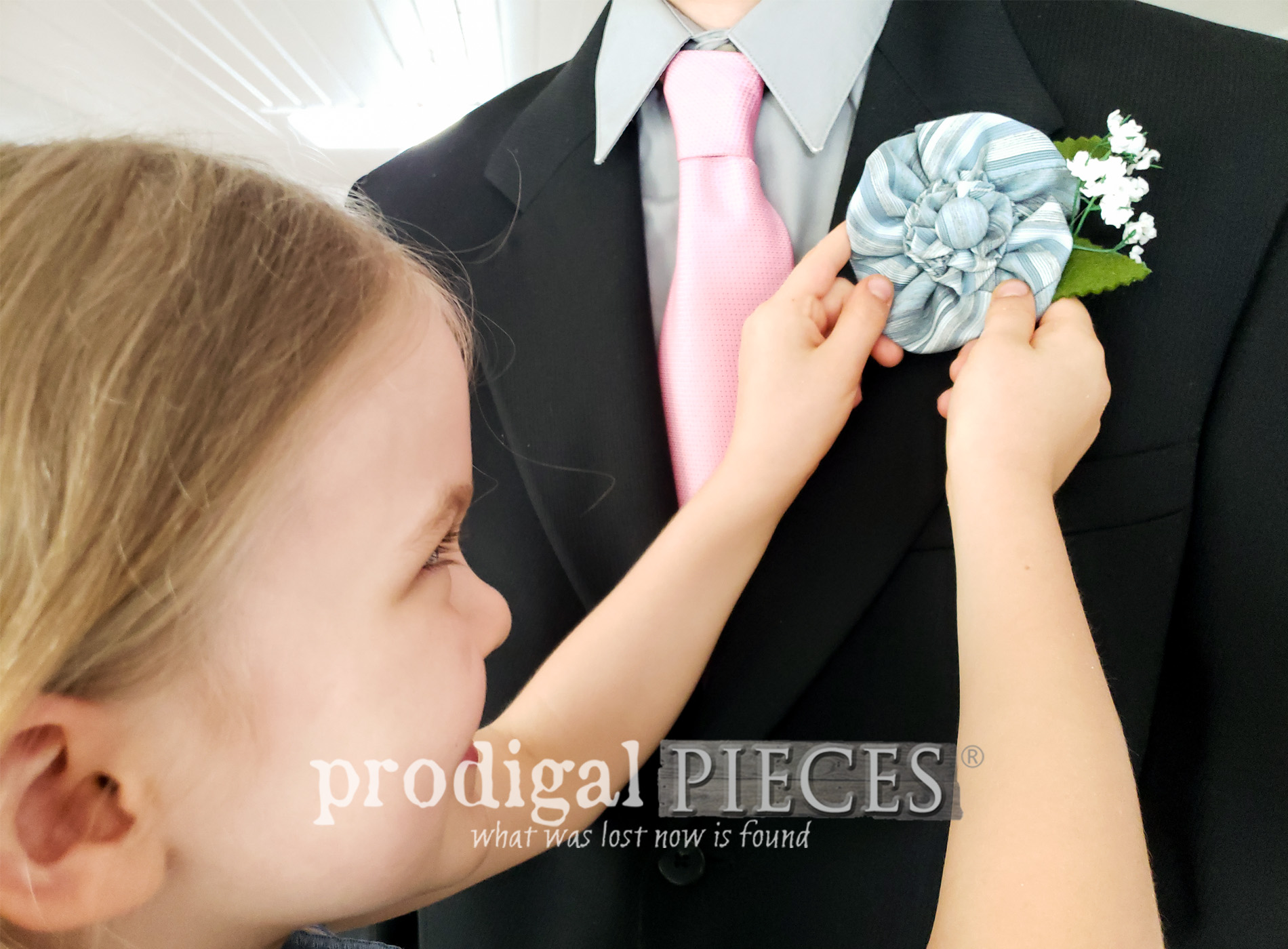 Featured Upcycled Necktie Boutonniere, Corsage, or Accessory | Video Tutorial by Larissa of Prodigal Pieces | prodigalpieces.com #prodigalpieces #diy #fathersday #upcycled #giftidea #dad