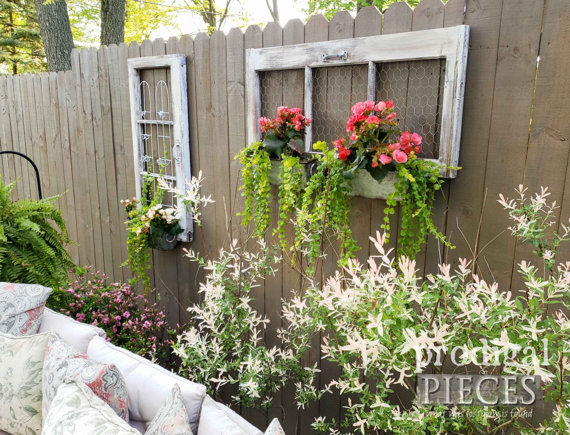 Upcycled Window Planter for Backyard Fence Decor by Larissa of Prodigal Pieces | prodigalpieces.com #prodigalpieces #diy #home #homedecor #garden