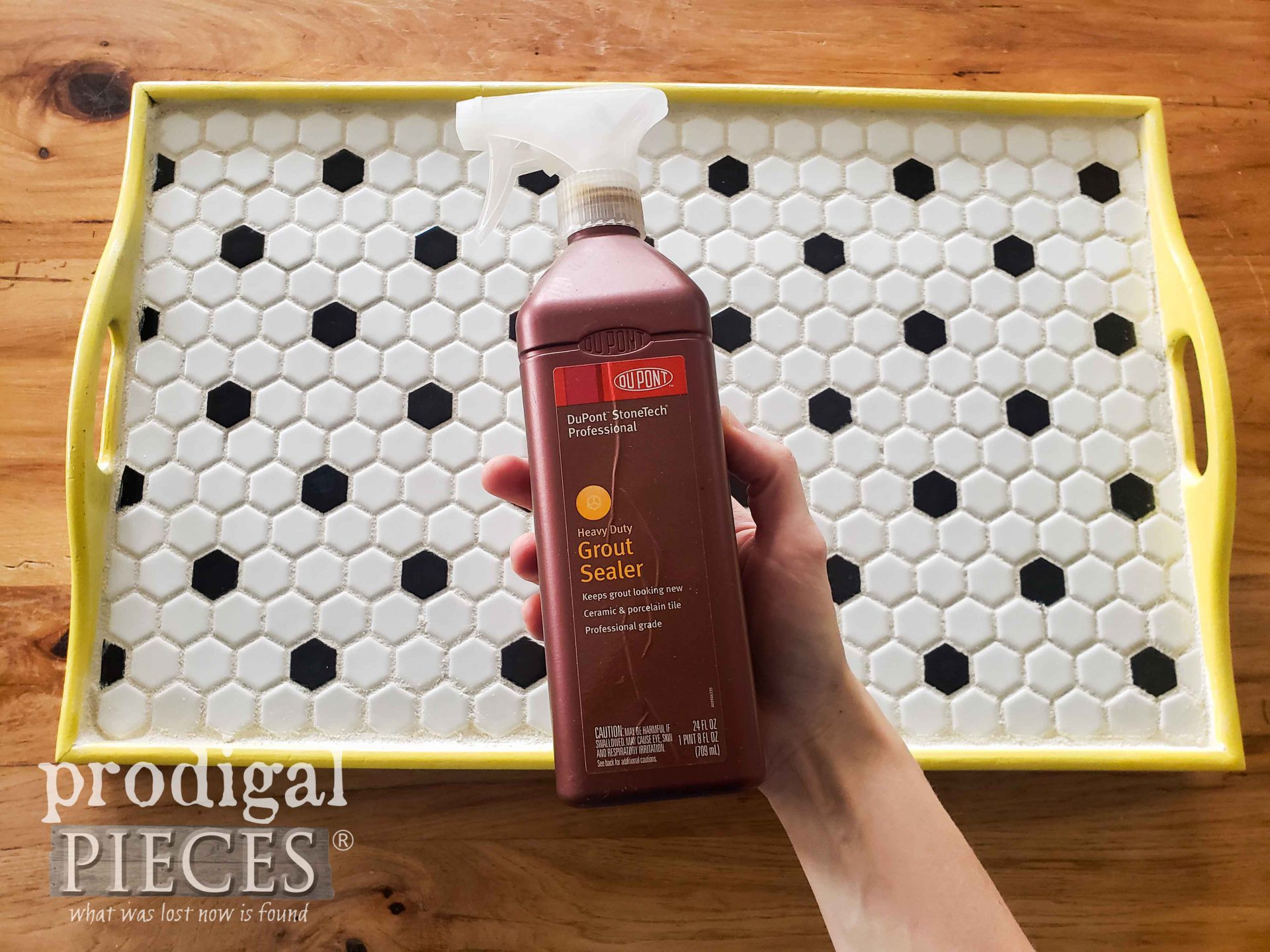 Applying Grout Sealer to DIY Tiled Tray | prodigalpieces.com #prodigalpieces #diy #vintage #home #homedecor