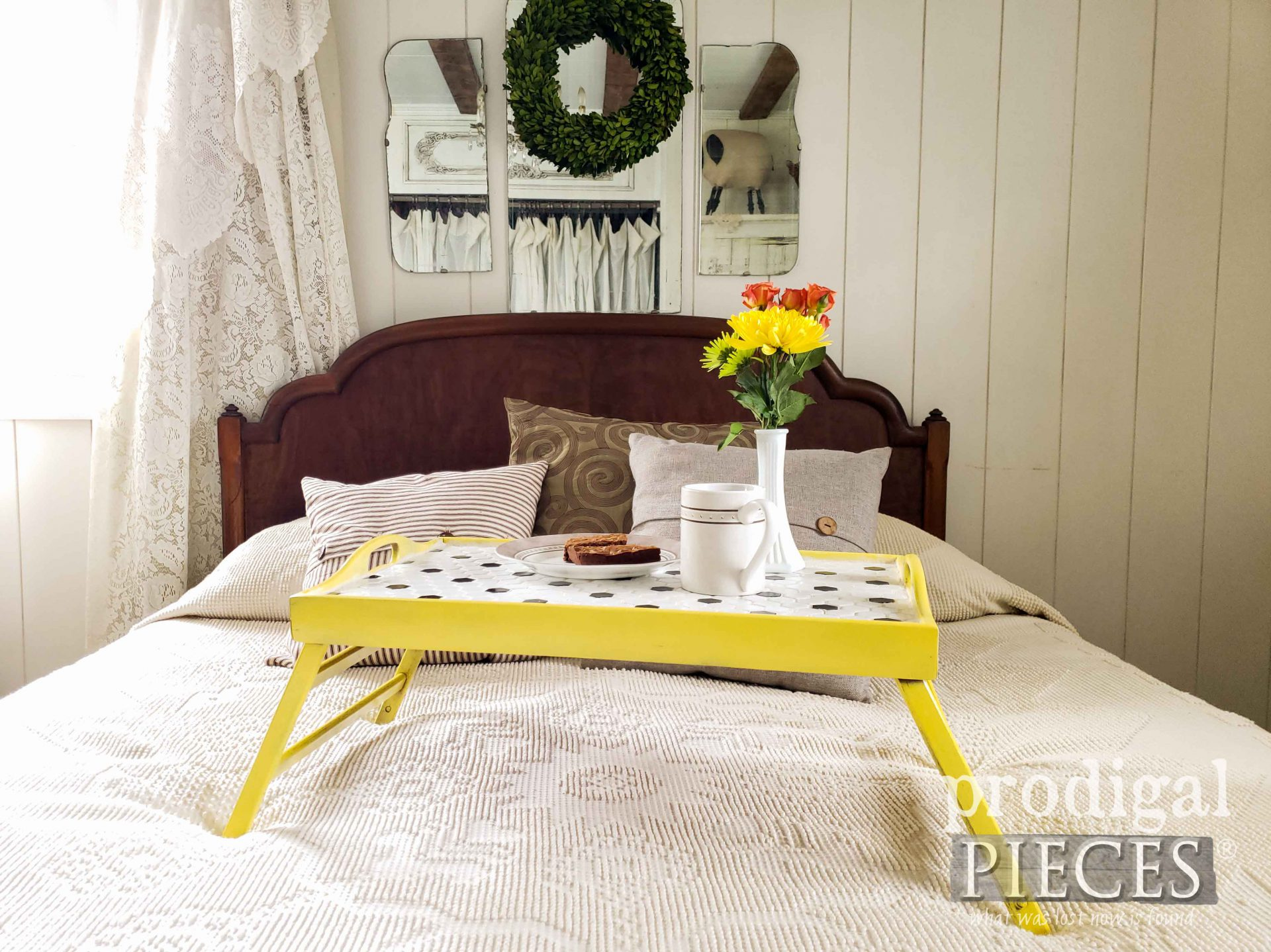 Modern Farmhouse DIY Tiled Tray in Yellow by Larissa of Prodigal Pieces | prodigalpieces.com #prodigalpieces #diy #modern #farmhouse #home #homedecor