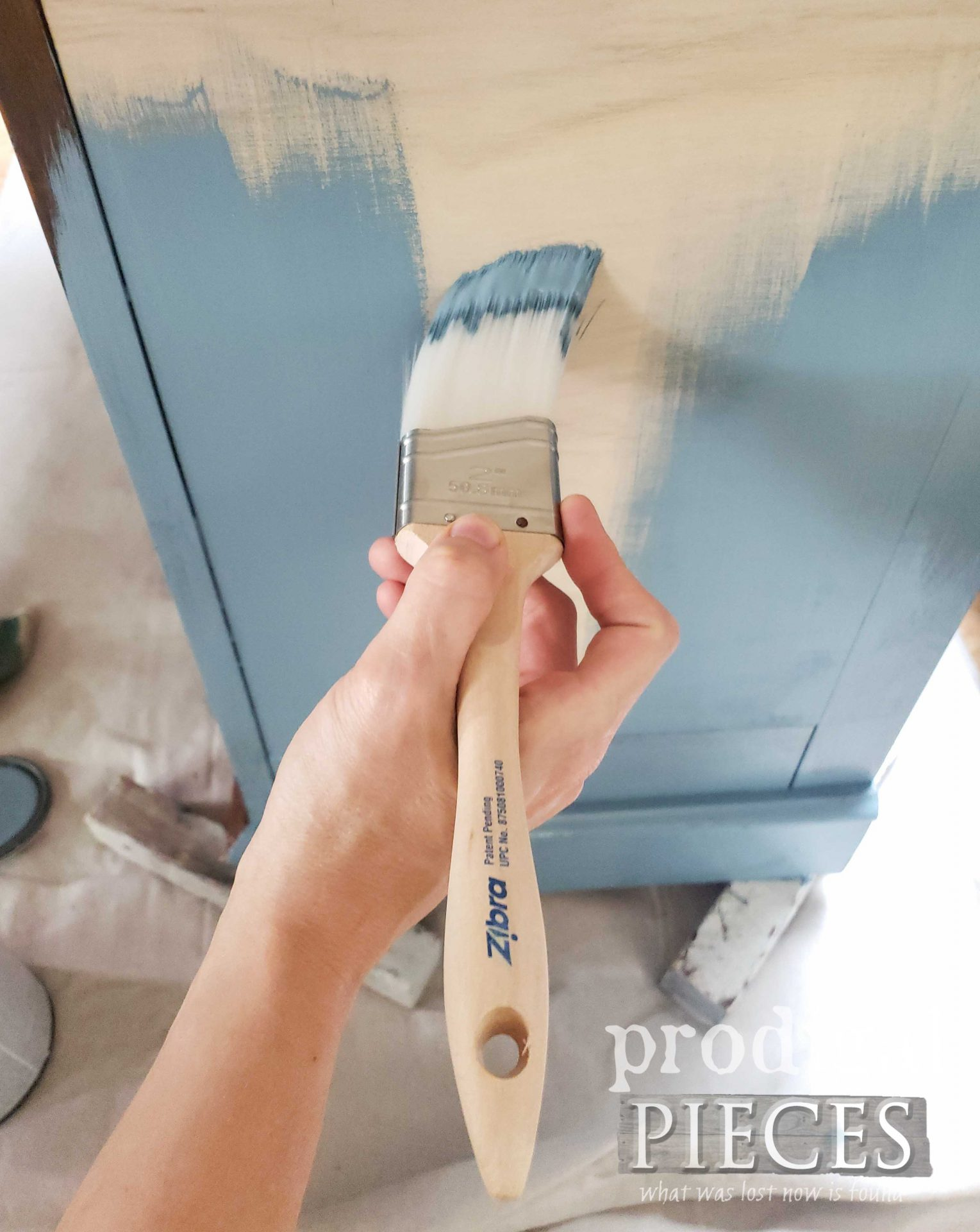 Painting Curio Cabinet Repurposed into Cupboard with Zibra Paint Brush | prodigalpieces.com #prodigalpieces
