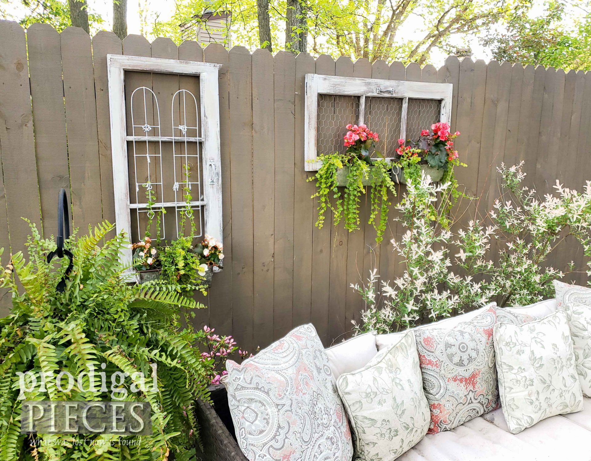 Patio Decor with Upcycled Window Planters by Larissa of Prodigal Pieces | prodigalpieces.com #prodigalpieces #home #homedecor #garden #farmhouse #cottage