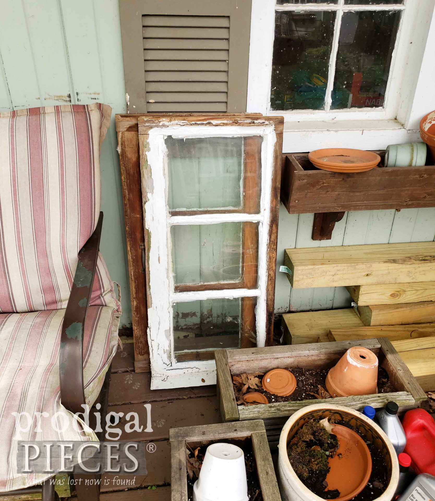 Reclaimed Shed Windows Before Upcycle by Larissa of Prodigal Pieces | prodigalpieces.com #prodigalpieces
