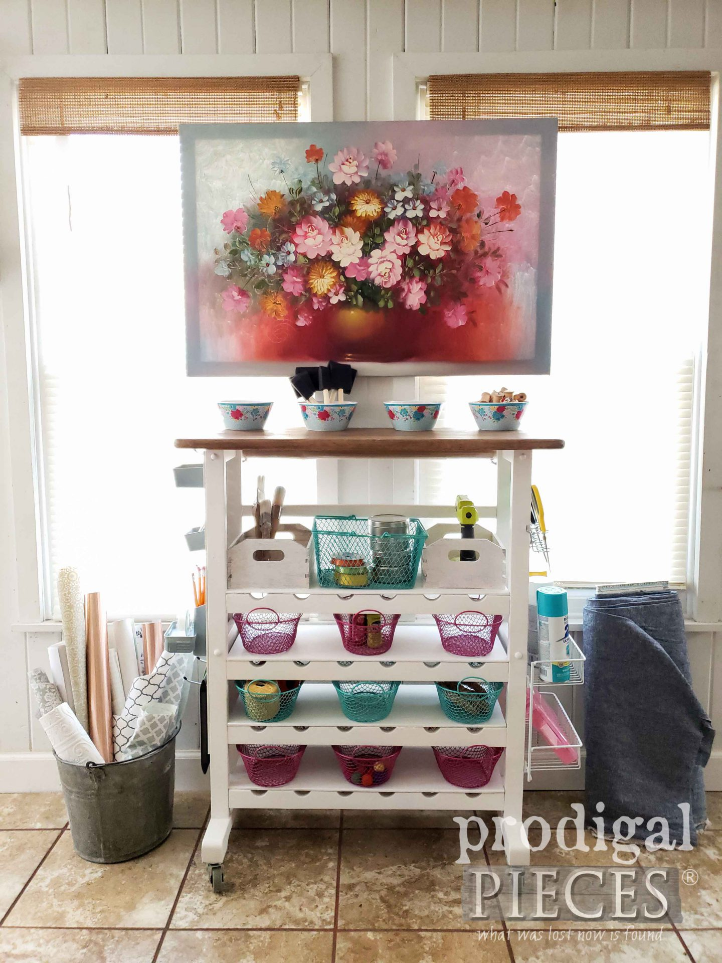 DIY Repurposed Craft Cart from Upcycled Wine Rack by Larissa of Prodigal Pieces | prodigalpieces.com #prodigalpieces #home #diy #crafts #storage #homedecor