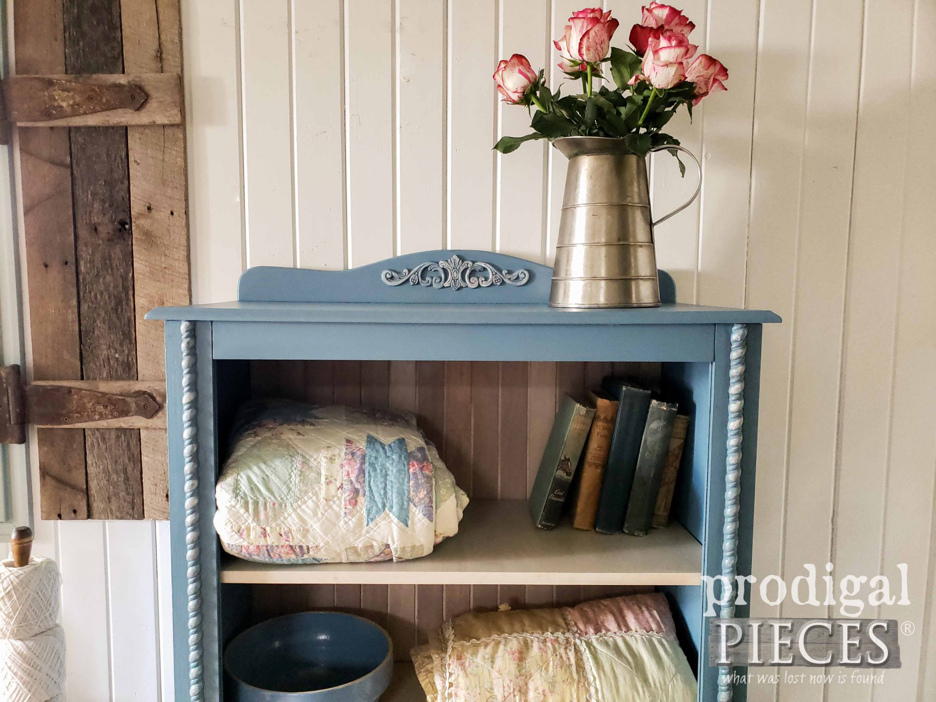 Repurposed Cabinet Top in Blue | prodigalpieces.com #prodigalpieces #diy #furniture #home #homedecor