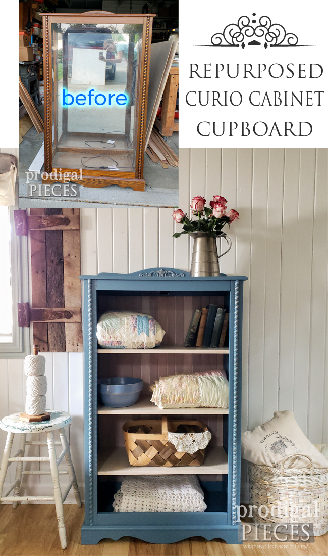 Beautiful Repurposed Curio Cabinet into Cupboard by Larissa of Prodigal Pieces | prodigalpieces.com #prodigalpieces #diy #furniture #home #cottage #homedecor
