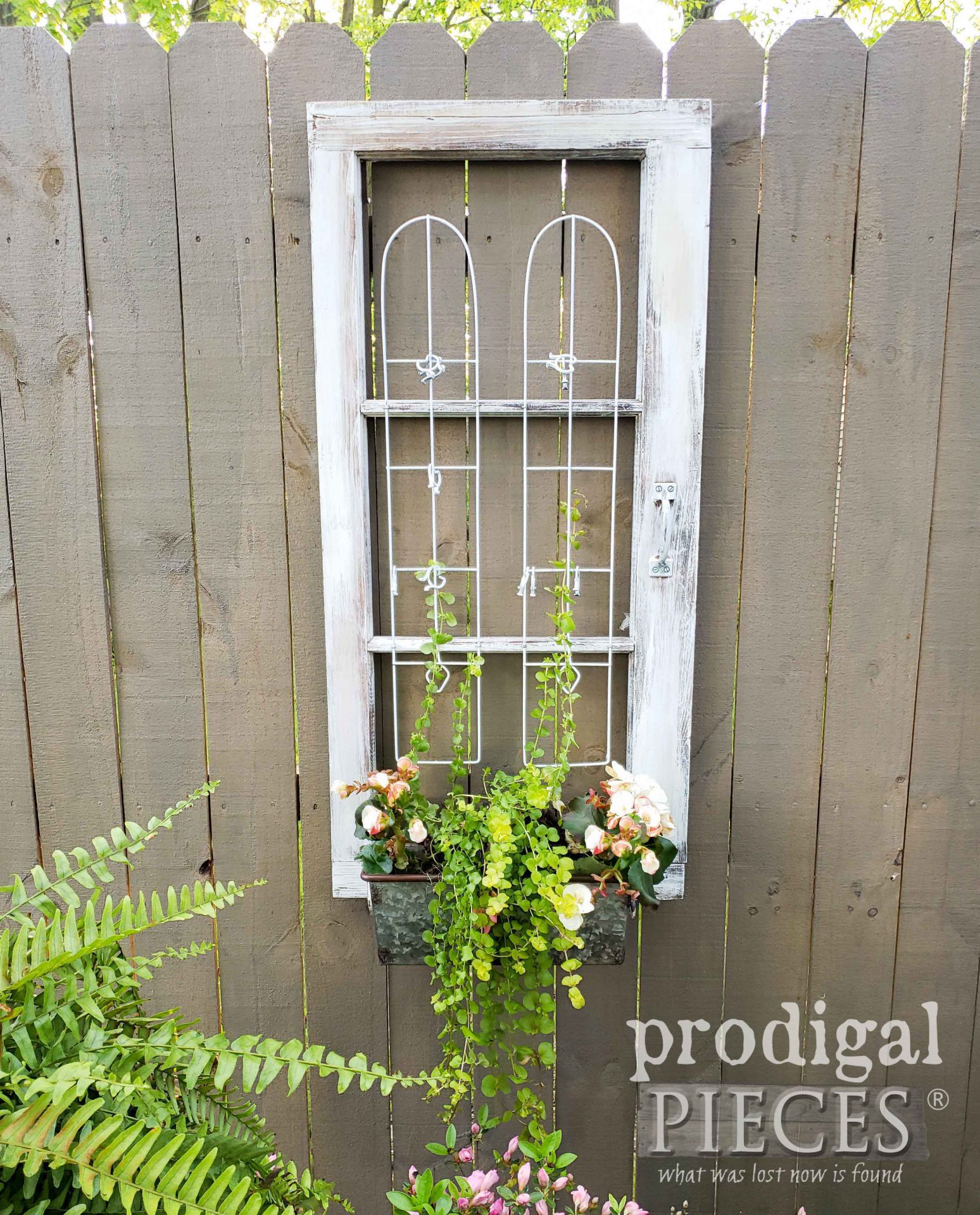 Repurposed Window Planter with Trellis for Garden Art by Larissa of Prodigal Pieces | prodigalpieces.com #prodigalpieces #repurposed #upcycled #diy #home #garden #homedecor