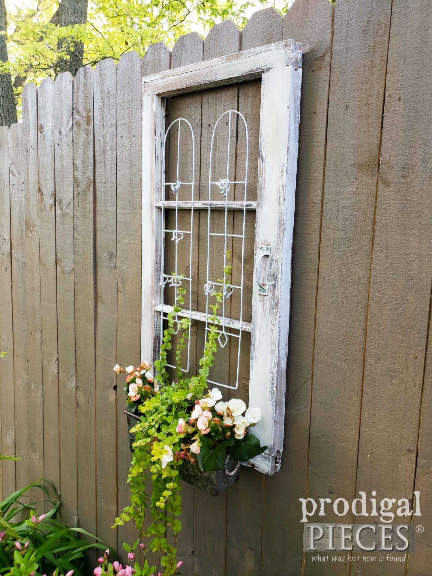 Side View of Upcycled Window Planter by Larissa of Prodigal Pieces | prodigalpieces.com #prodigalpieces #upcycled #garden #art