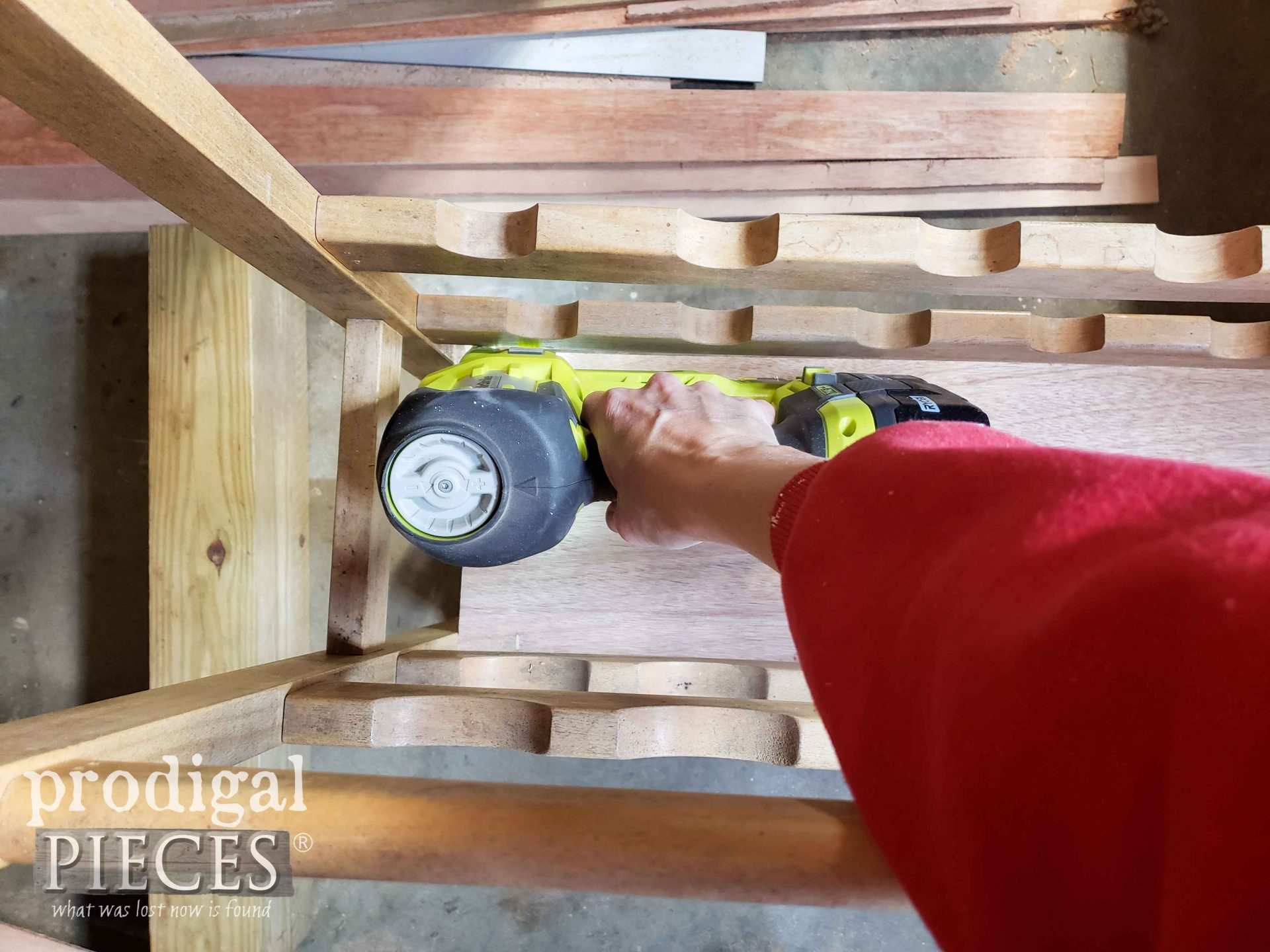 Stapling Shelf Wood to Upcycle Wine Rack with Ryobi Stapler by Larissa of Prodigal Pieces | prodigalpieces.com