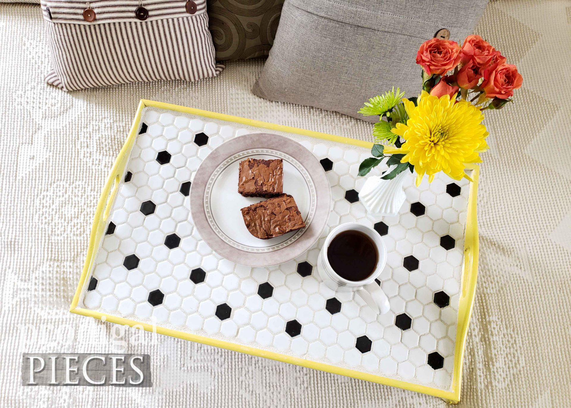 Top View Tiled Tray by Larissa of Prodigal Pieces | prodigalpieces.com #prodigalpieces #vintage #diy #home #homedecor
