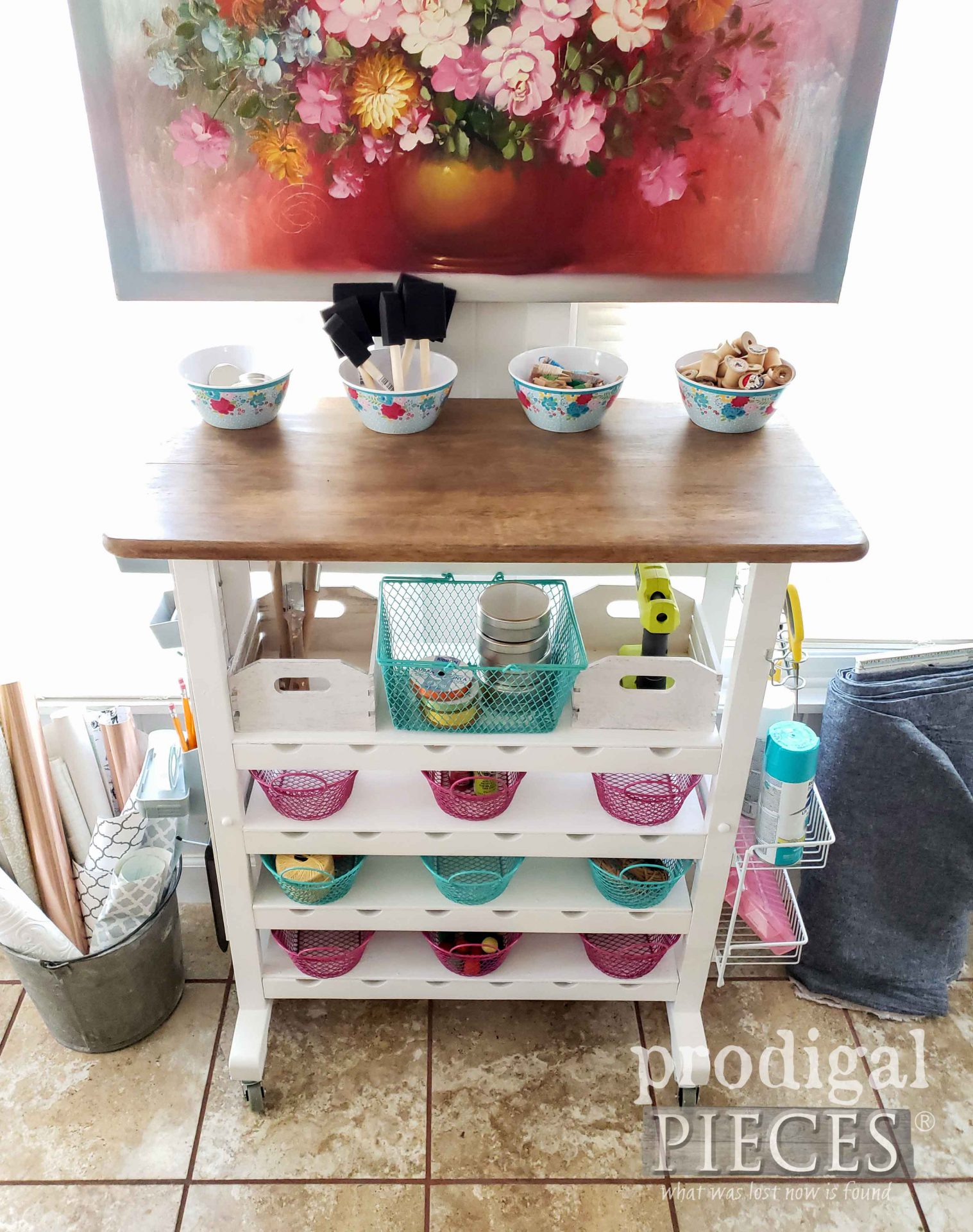 Upcycled Craft Cart Wood Top by Larissa by Larissa of Prodigal Pieces | prodigalpieces.com #prodigalpieces #crafts #diy #home #homedecor