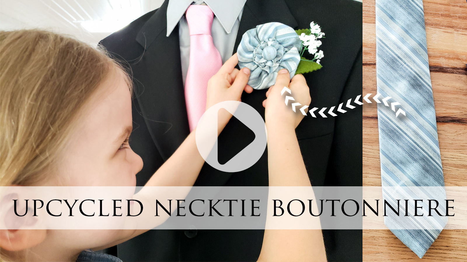 Video Tutorial for Upcycled Necktie Boutonniere for Father's Day | prodigalpieces.com #prodigalpieces #diy #refashion #fathersday #crafts