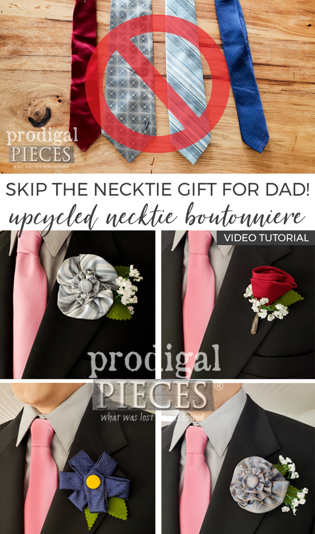 Skip the necktie gift for dad - upcycle it instead! Larissa of Prodigal Pieces shows you how in an easy video tutorial   Head to prodigalpieces.com #prodigalpieces #fathersday #dad #gift #wedding #handmade #men