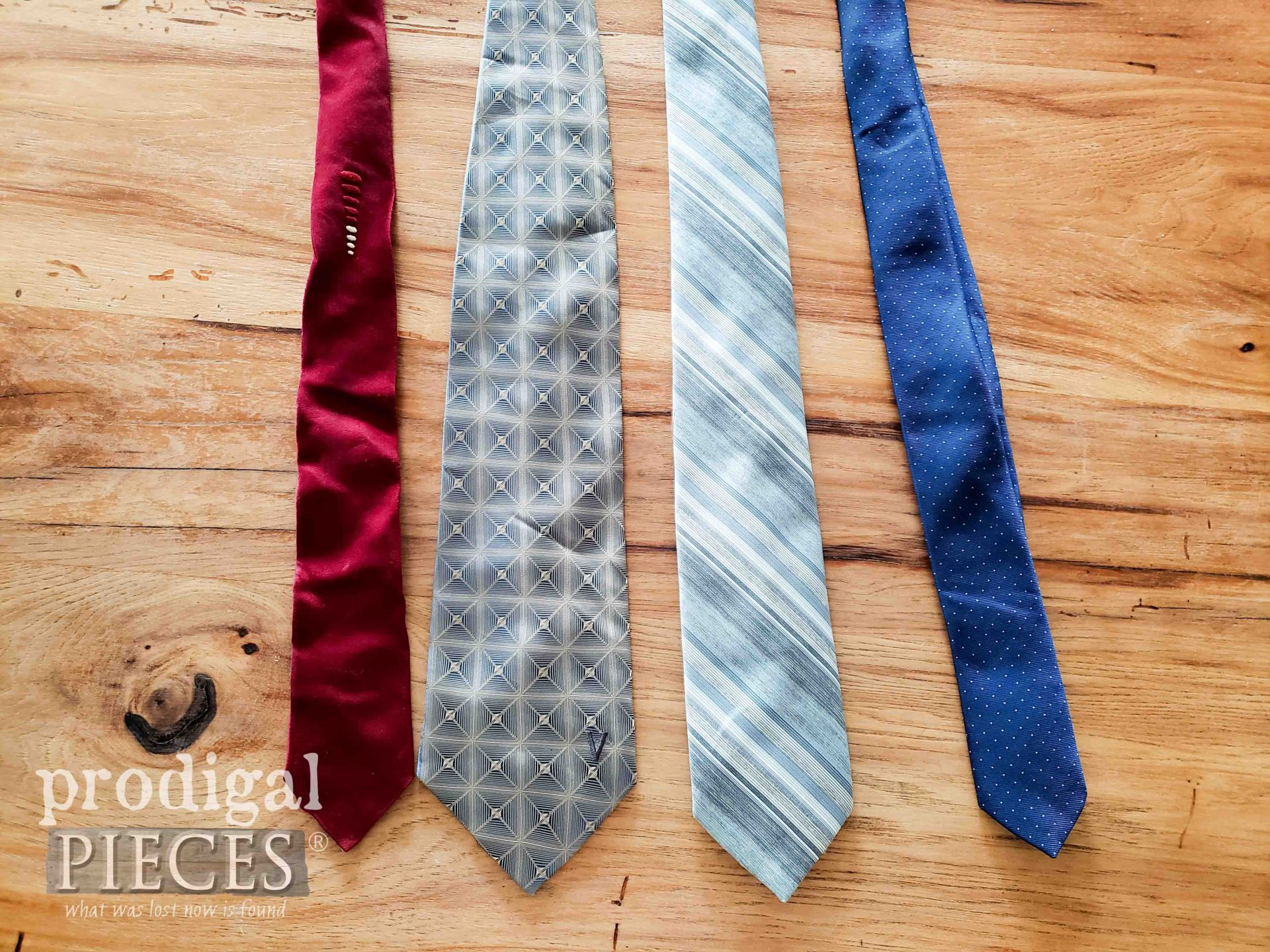 Thritfted Neckties Before Upcycle by Larissa of Prodigal Pieces | prodigalpieces.com