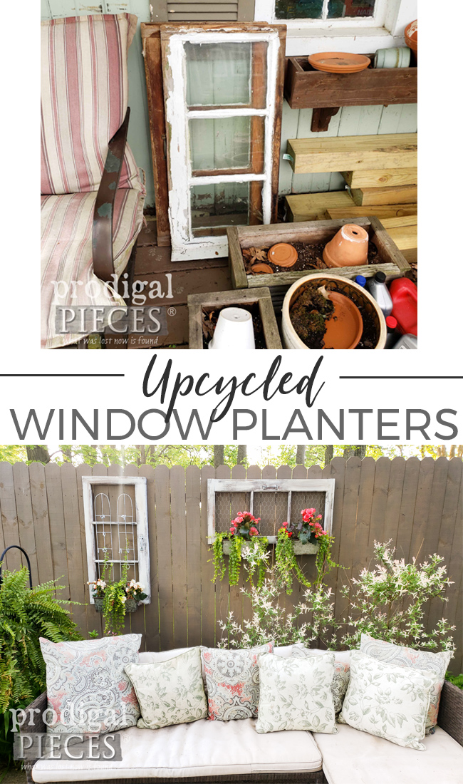 Don't toss those old windows! Instead, create an upcycled window planter by Larissa of Prodigal Pieces | prodigalpieces.com #prodigalpieces #garden #diy #home #homdecor #farmhouse #garden