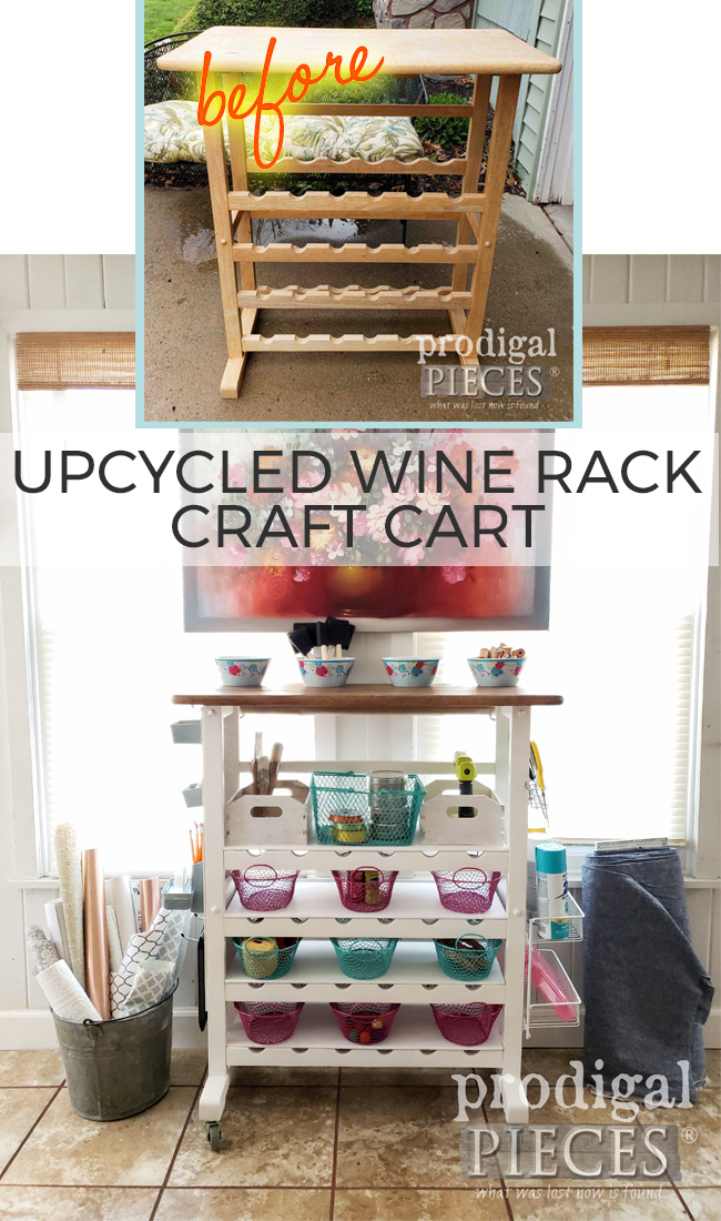 How fun! This Upcycled Wine Rack Craft Cart with Storage by Larissa of Prodigal Pieces | Full tutorial at prodigalpieces.com #prodigalpieces #diy #crafts #storage #upcycled