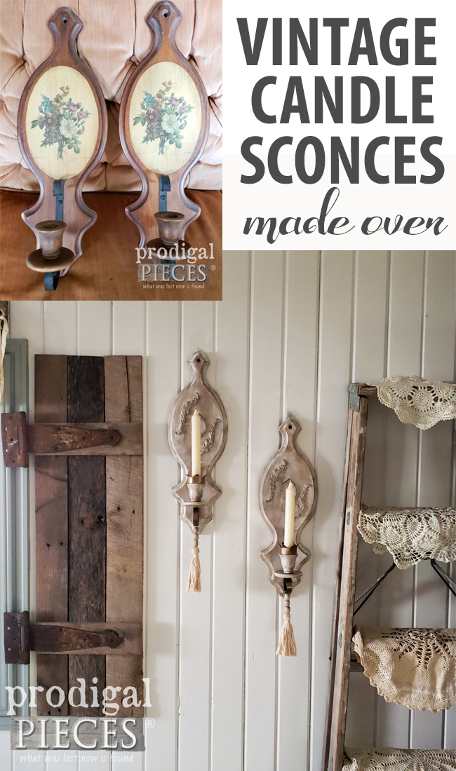 Wowza! These vintage candle sconces were dull and dated, but are not rustic chic. See the tutorial by Larissa of Prodigal Pieces at prodigalpieces.com #prodigalpieces #diy #home #homedecor #rusticchic