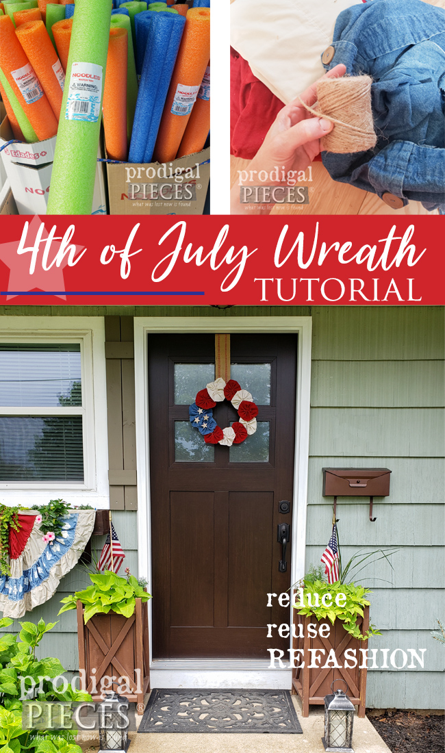 You can make this! Thrifted curtains and sheets can create beautiful Independence Day Decor | Head to Prodigal Pieces for this 4th of July Wreath & Bunting | prodigalpieces.com #prodigalpieces #diy #home #4thofjuly #usa #independenceday #refashion