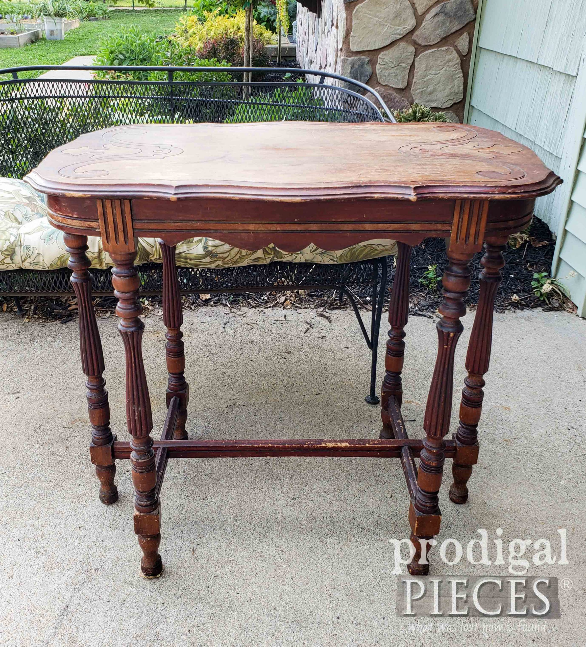 Antique Table Before Makeover by Larissa of Prodigal Pieces | prodigalpieces.com