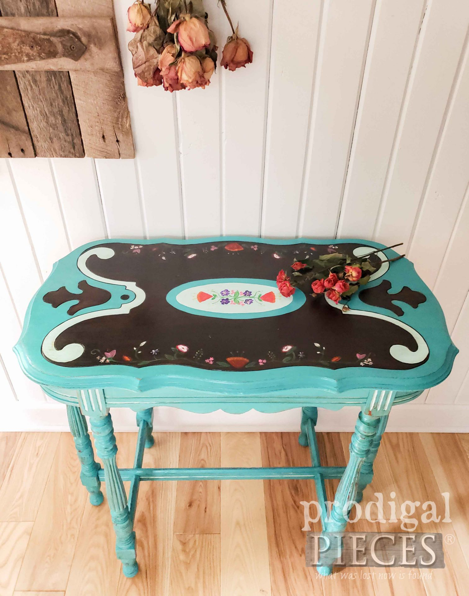 Aqua Blue Antique Table with Floral Motif by Larissa of Prodigal Pieces | prodigalpieces.com #prodigalpieces #diy #furniture #home #homedecor