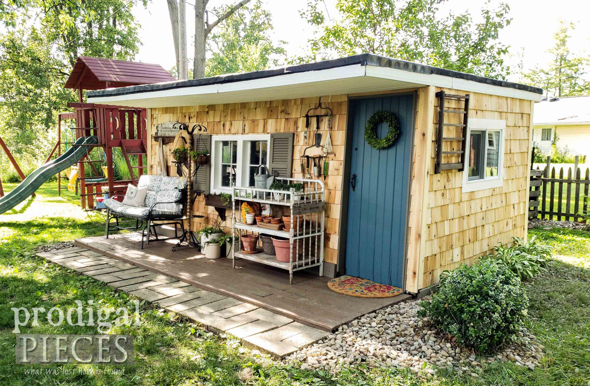 Backyard Garden Shed with Cedar Shake Siding by Prodigal Pieces | prodigalpieces.com #prodigalpieces #diy #garden