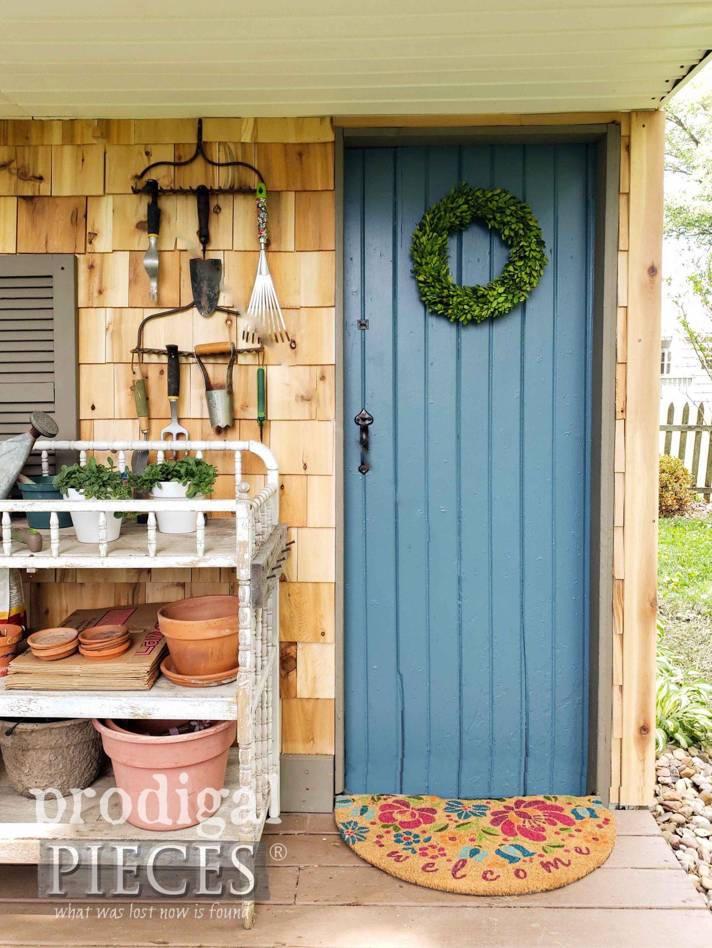 Blue Garden Shed Door | prodigalpieces.com #prodigalpieces #diy #garden #home