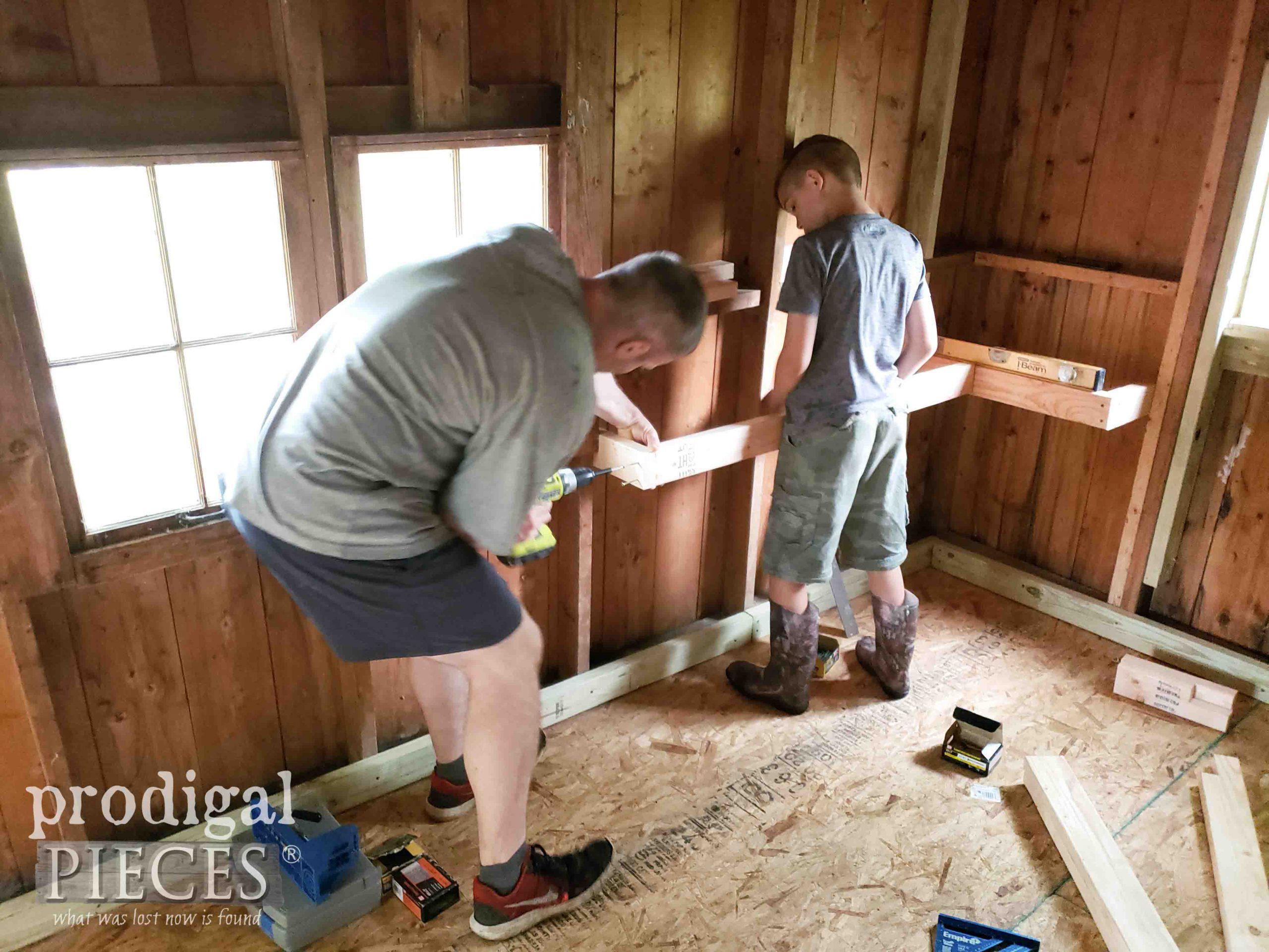 Building Floating Garden Shed Shelves | prodigalpieces.com