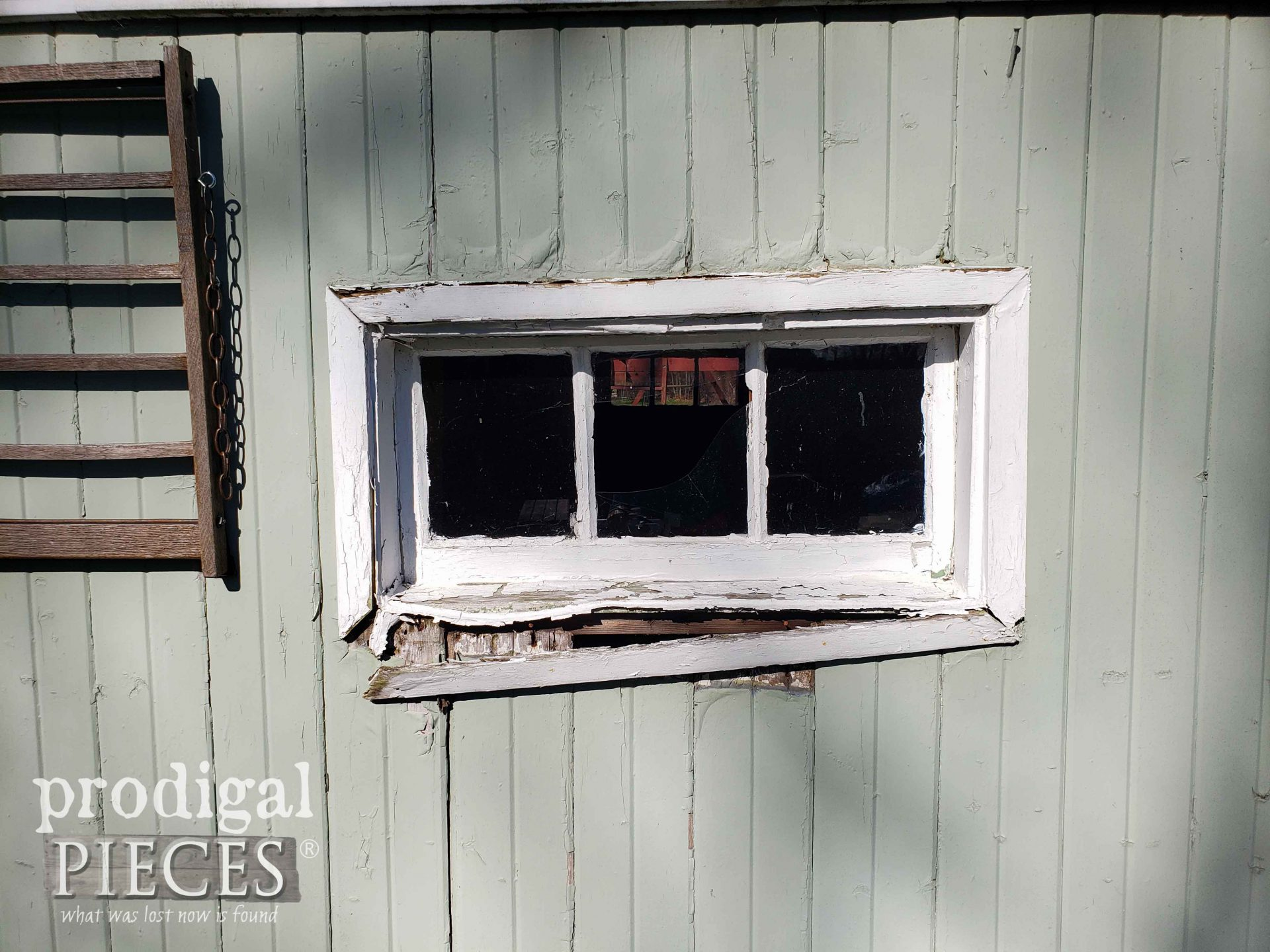Busted Garden Shed Window Before Remodel | prodigalpieces.com