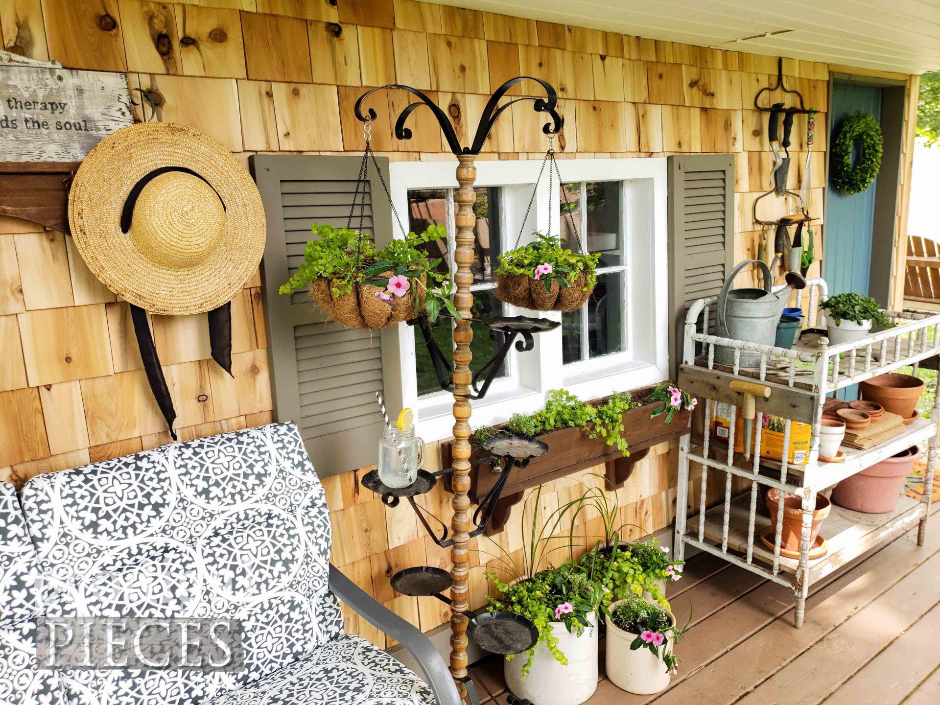 DIY Cedar Shake Shed with Decor by Larissa of Prodigal Pieces | prodigalpieces.com #prodigalpieces #diy #garden #farmhouse