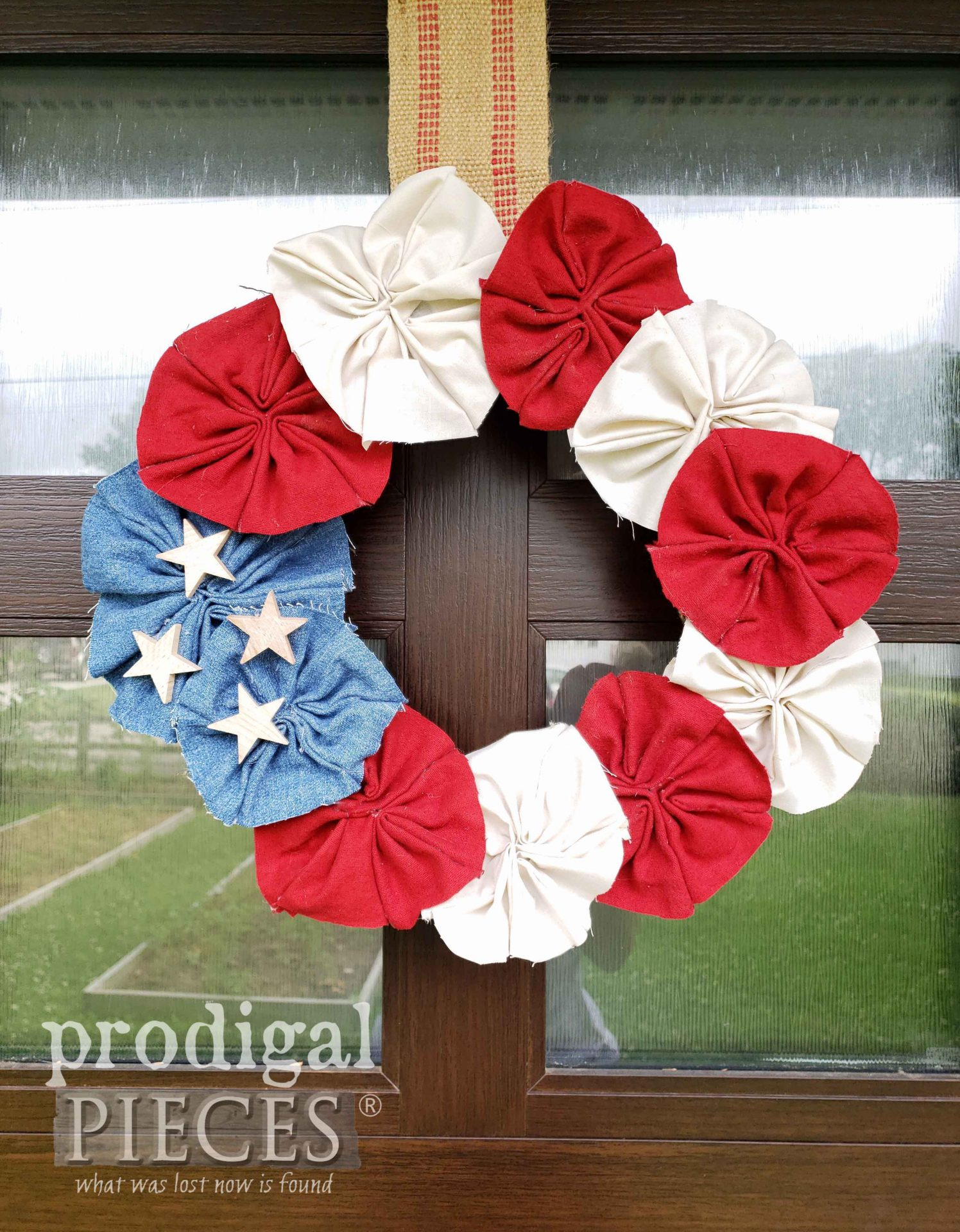 DIY Patriotic Wreath made of Refashioned Fabrics by Larissa of Prodigal Pieces | prodigalpieces.com #prodigalpieces #diy #4thofjuly #patriotic #usa #independenceday