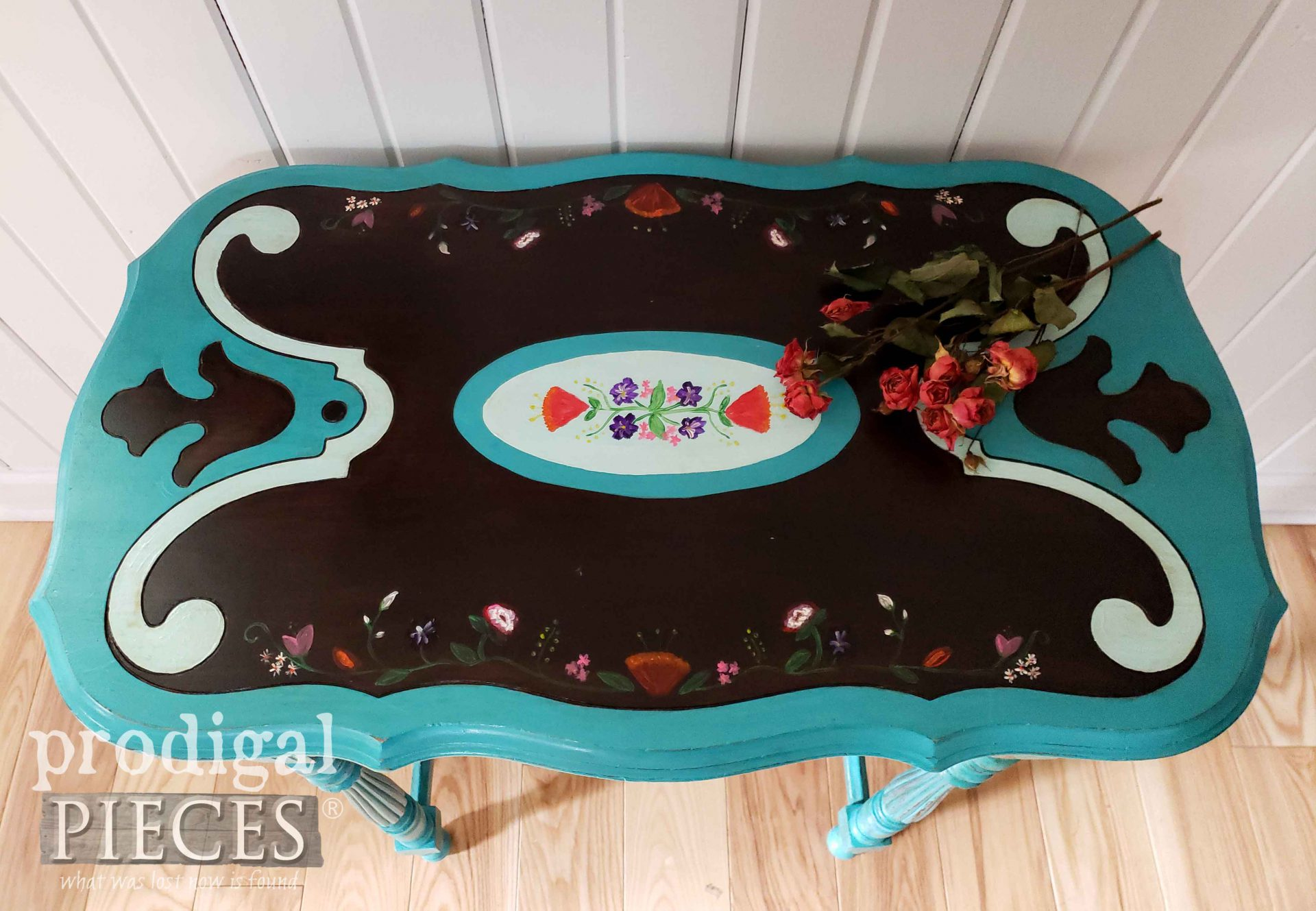 Hand-Painted Floral Top on Antique Table by Larissa of Prodigal Pieces | prodigalpieces.com #prodigalpieces #furniture #home #homedecor #diy