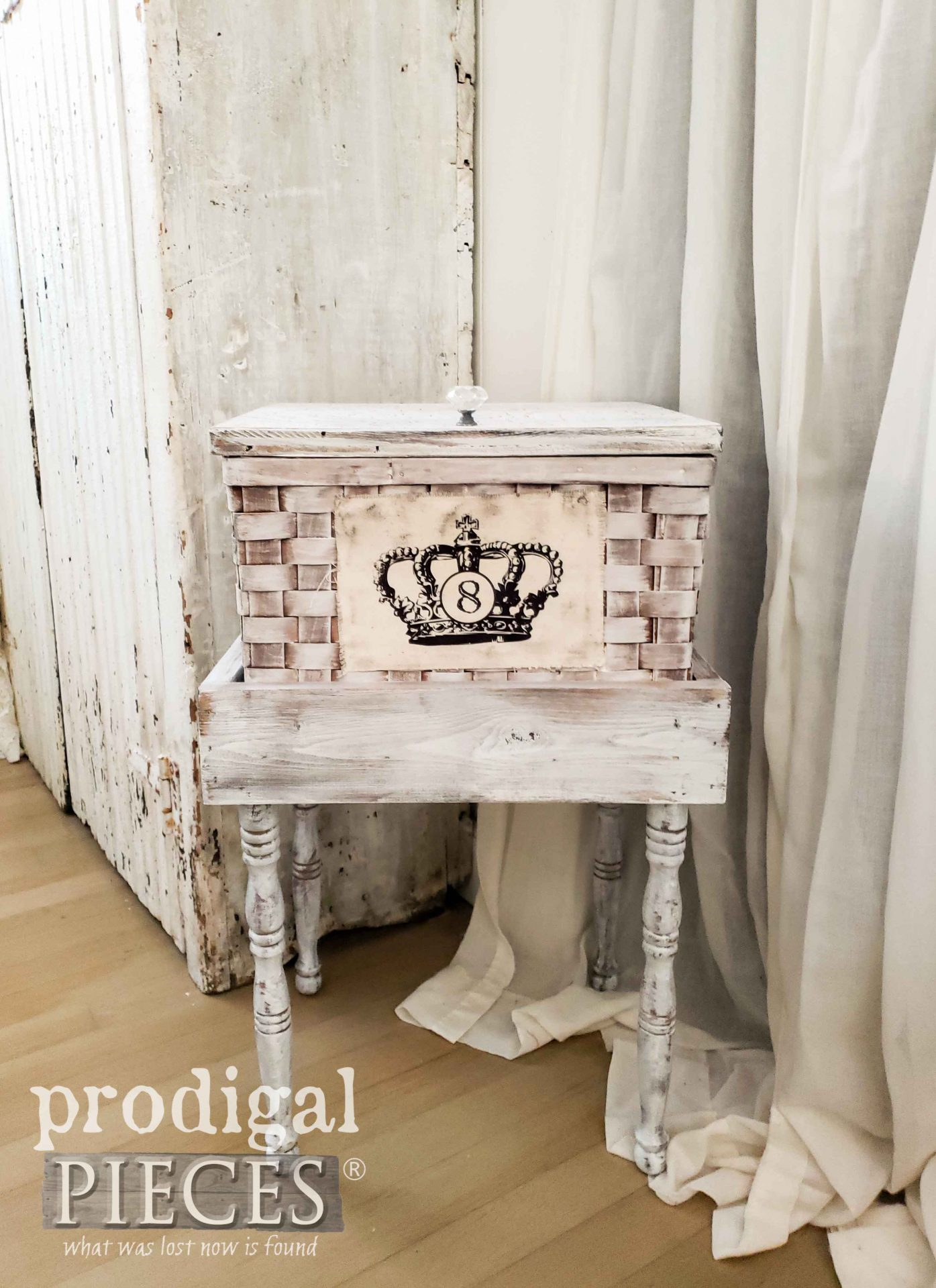 French Farmhouse Basket Table with Extra Storage by Larissa of Prodigal Pieces | prodigalpieces.com #prodigalpieces #home #farmhouse #homedecor